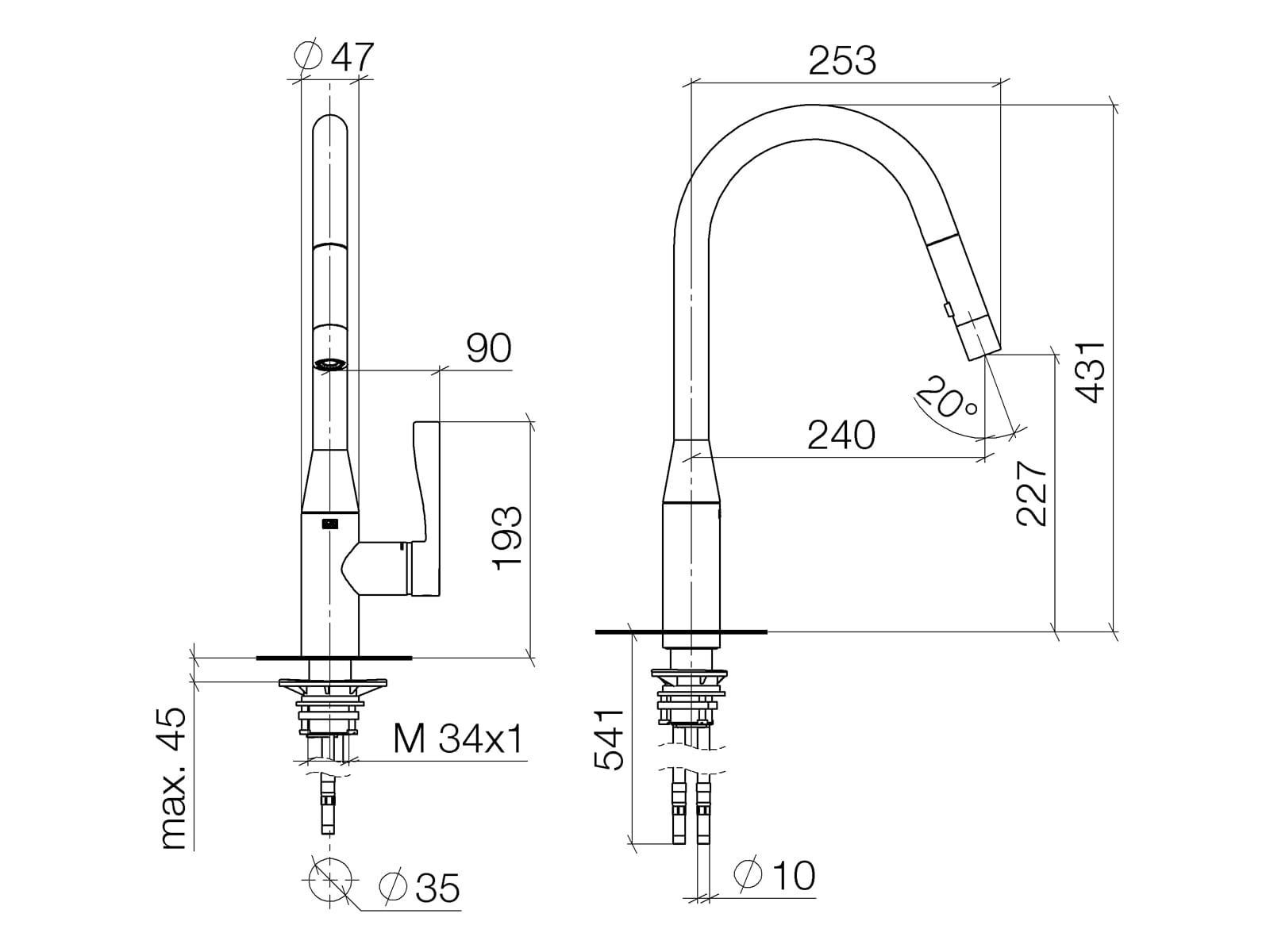 Dornbracht Sync Pull-Down Platin Matt 33 870 895-06 Hochdruckarmatur