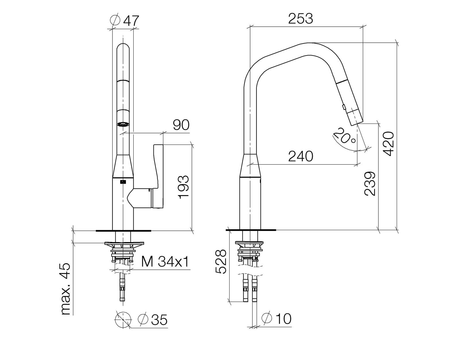 Dornbracht Sync Pull-Down Platin Matt 33 875 895-06 Hochdruckarmatur