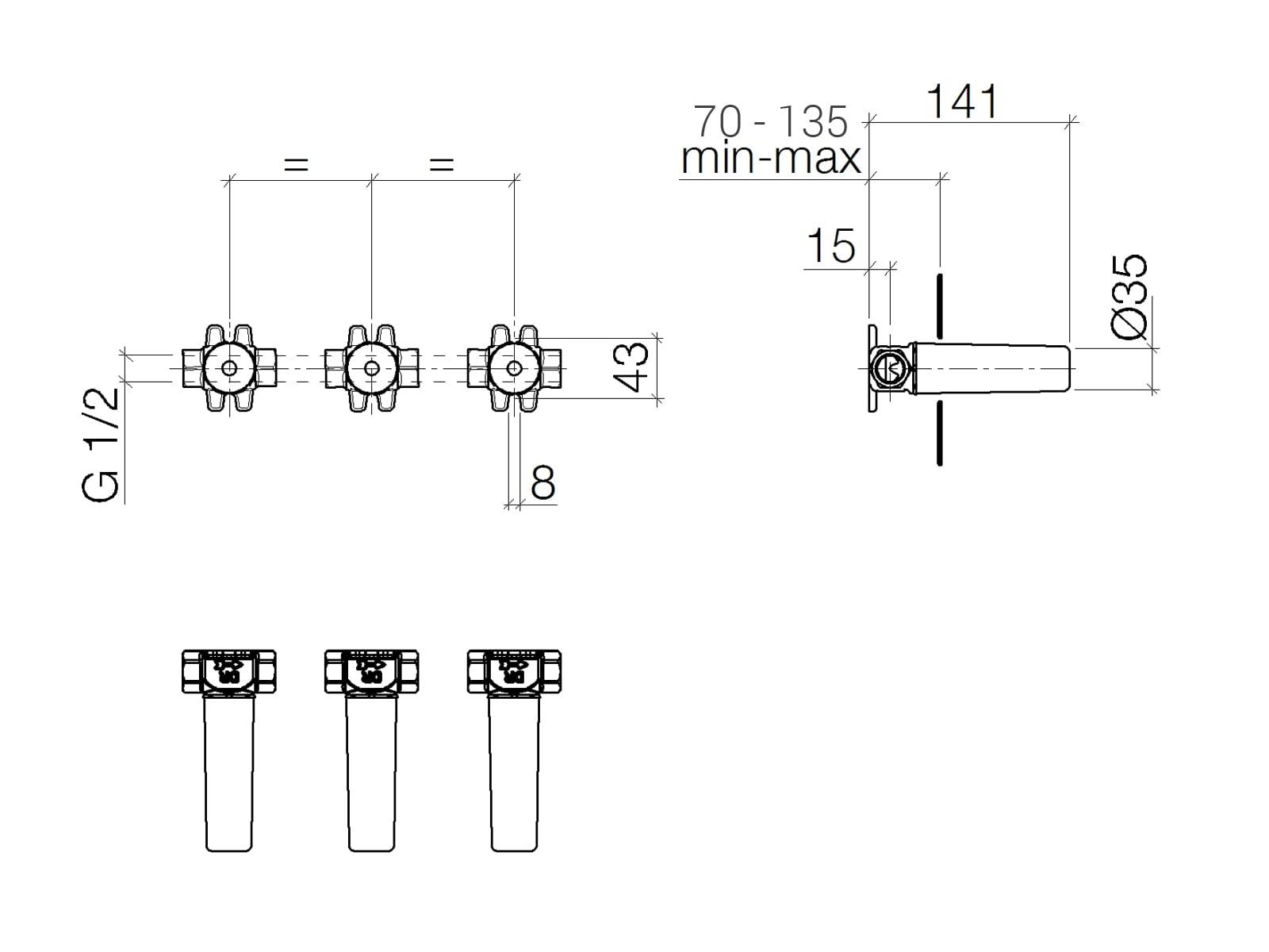 Dornbracht UP-Wandbatterie 35 712 970 90 Variable Positionierung