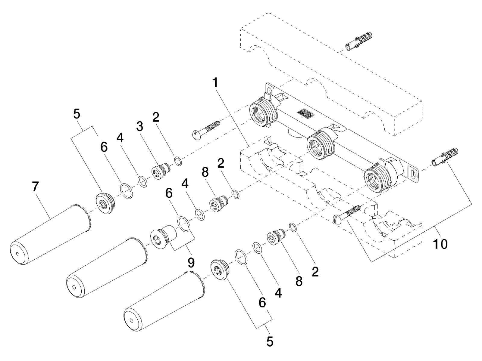 Dornbracht UP-Wandbatterie 35 713 970 90 Auslauf links