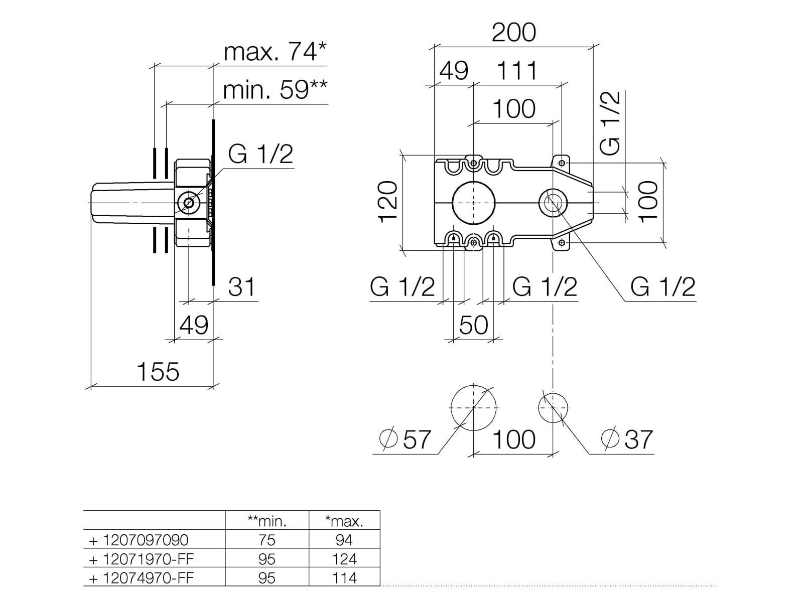 Dornbracht UP-Wand-Einhandbatterie 35 807 970 90 Mischer links