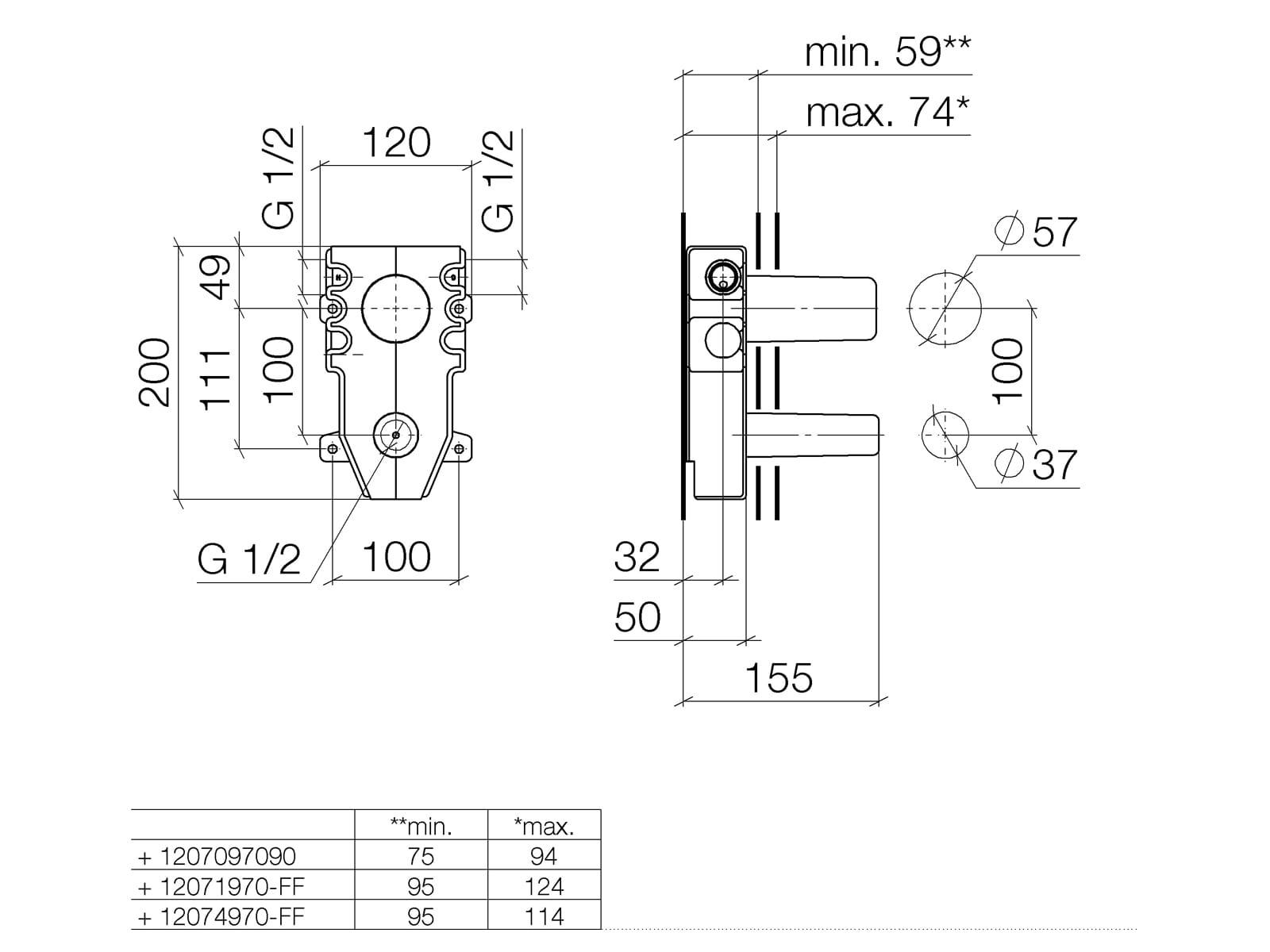 Dornbracht UP-Wand-Einhandbatterie 35 808 970 90 Mischer oben