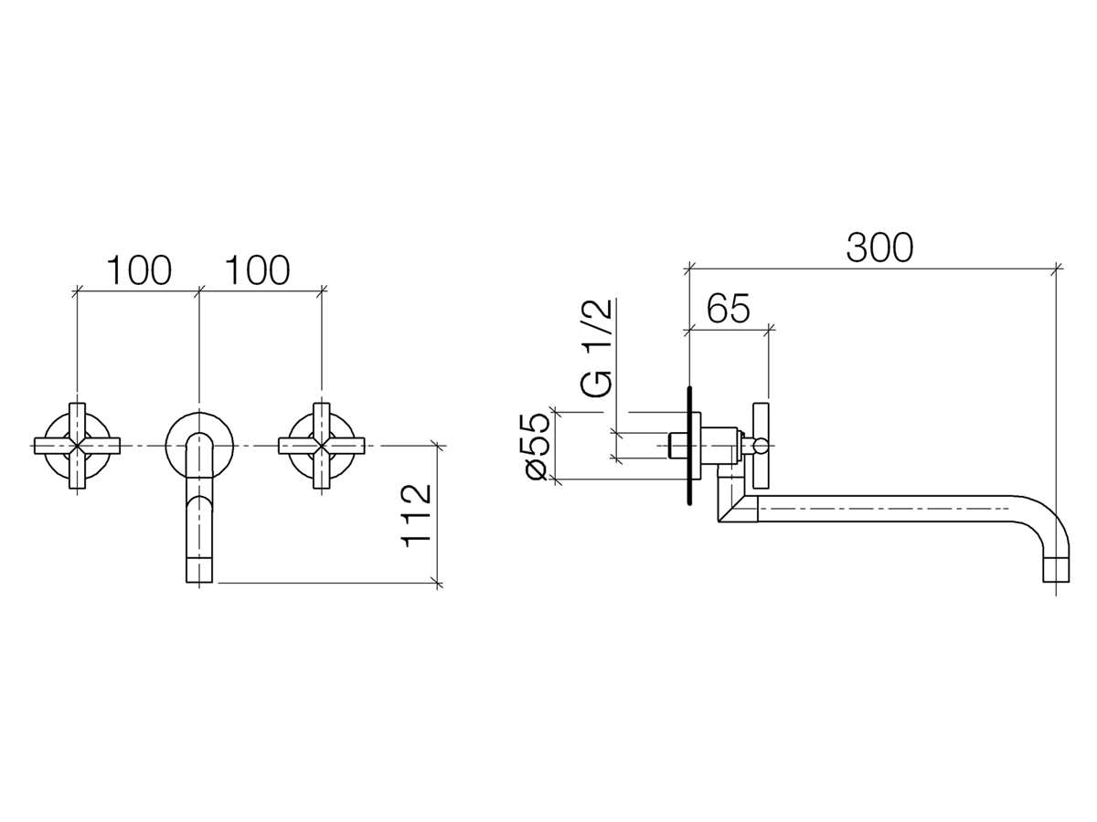 Dornbracht Tara Wandbatterie Platin Matt 36 818 892-06 Hochdruckarmatur