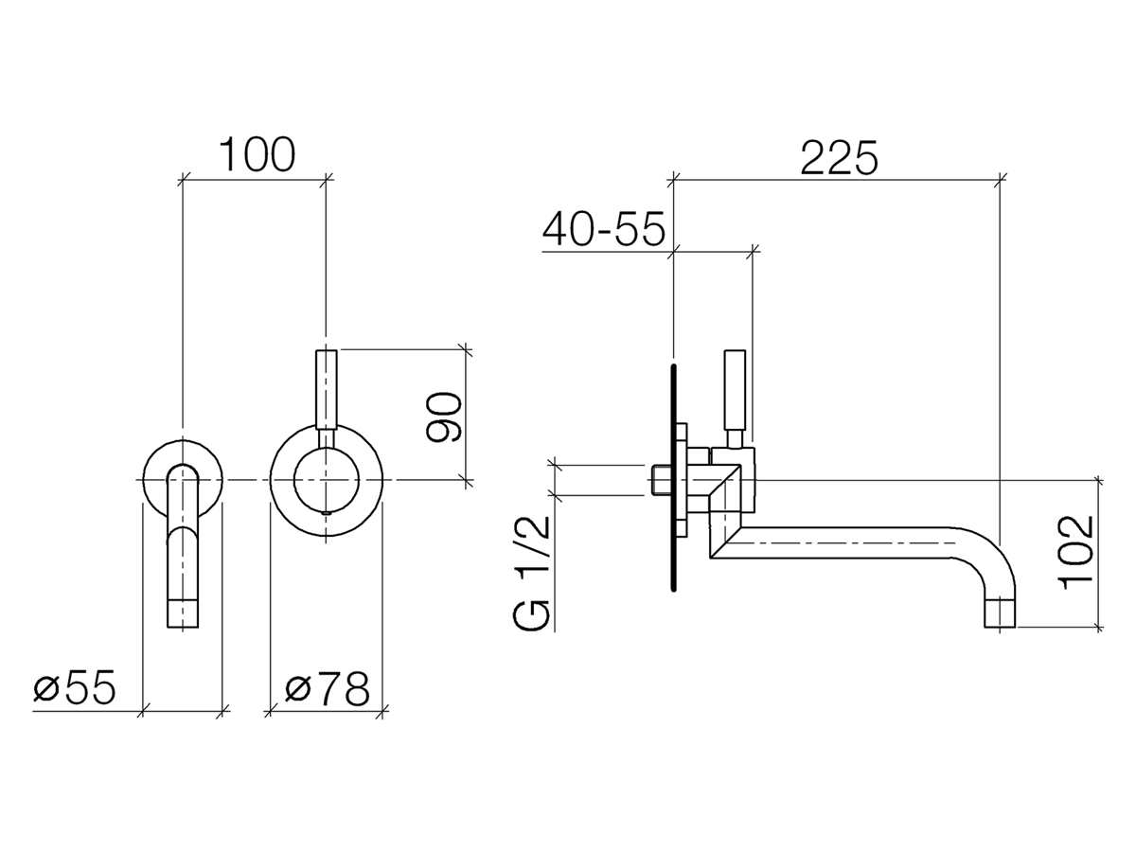 Dornbracht Meta.02 Wandmischer Platin Matt 36 834 625-06 Hochdruckarmatur