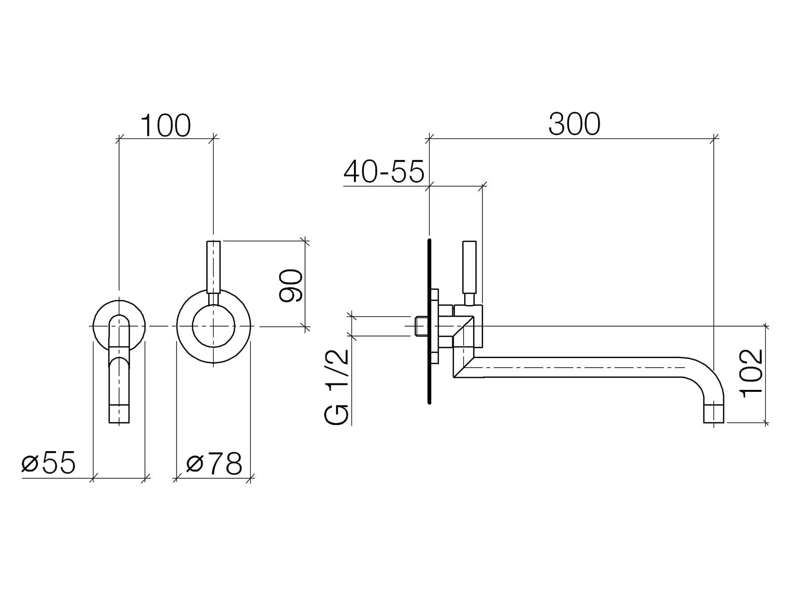 Dornbracht Meta.02 Wandmischer Chrom 36 838 625-00 Hochdruckarmatur