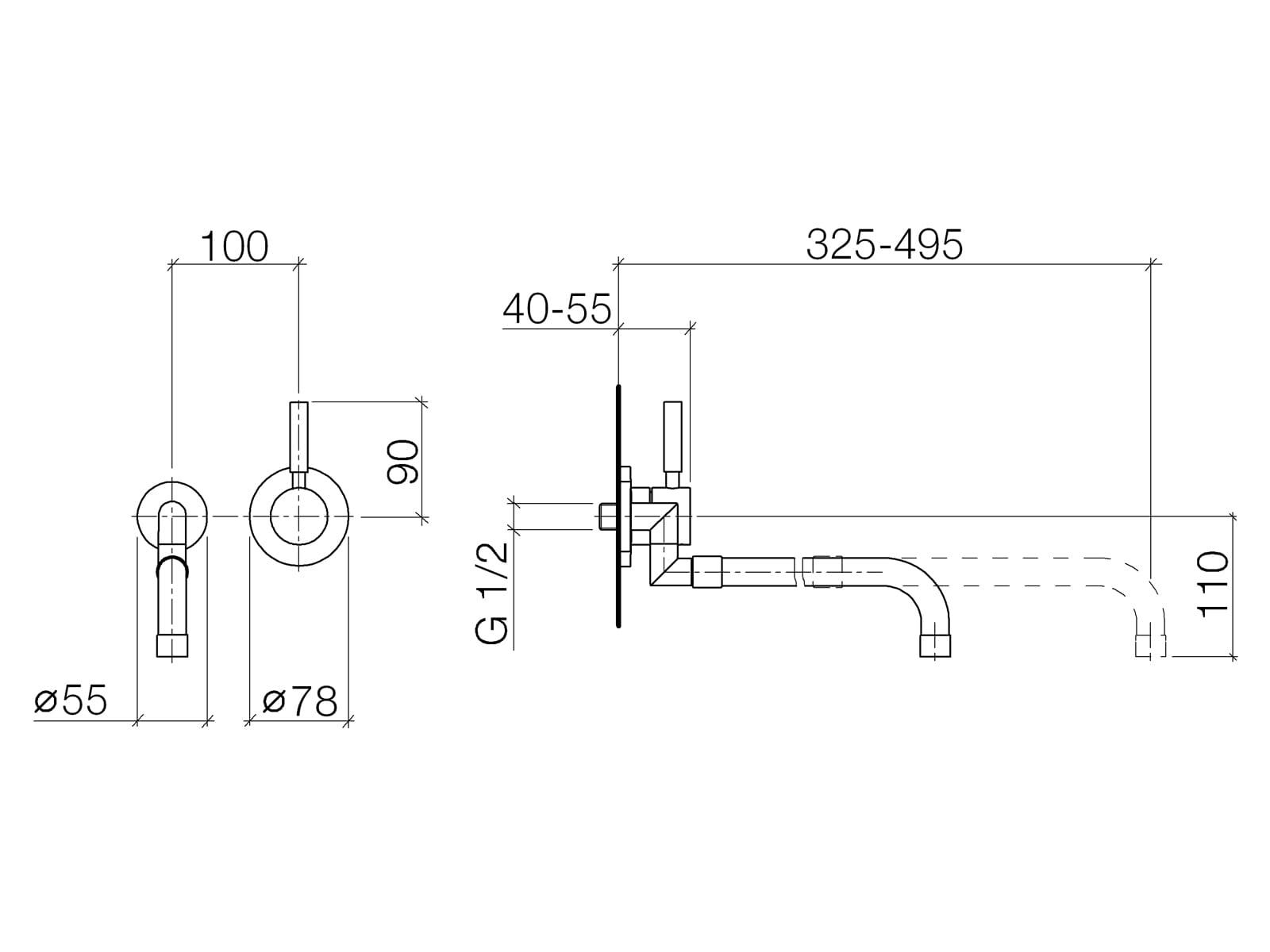 Dornbracht Meta.02 Wandmischer Platin Matt 36 851 625-06 Hochdruckarmatur