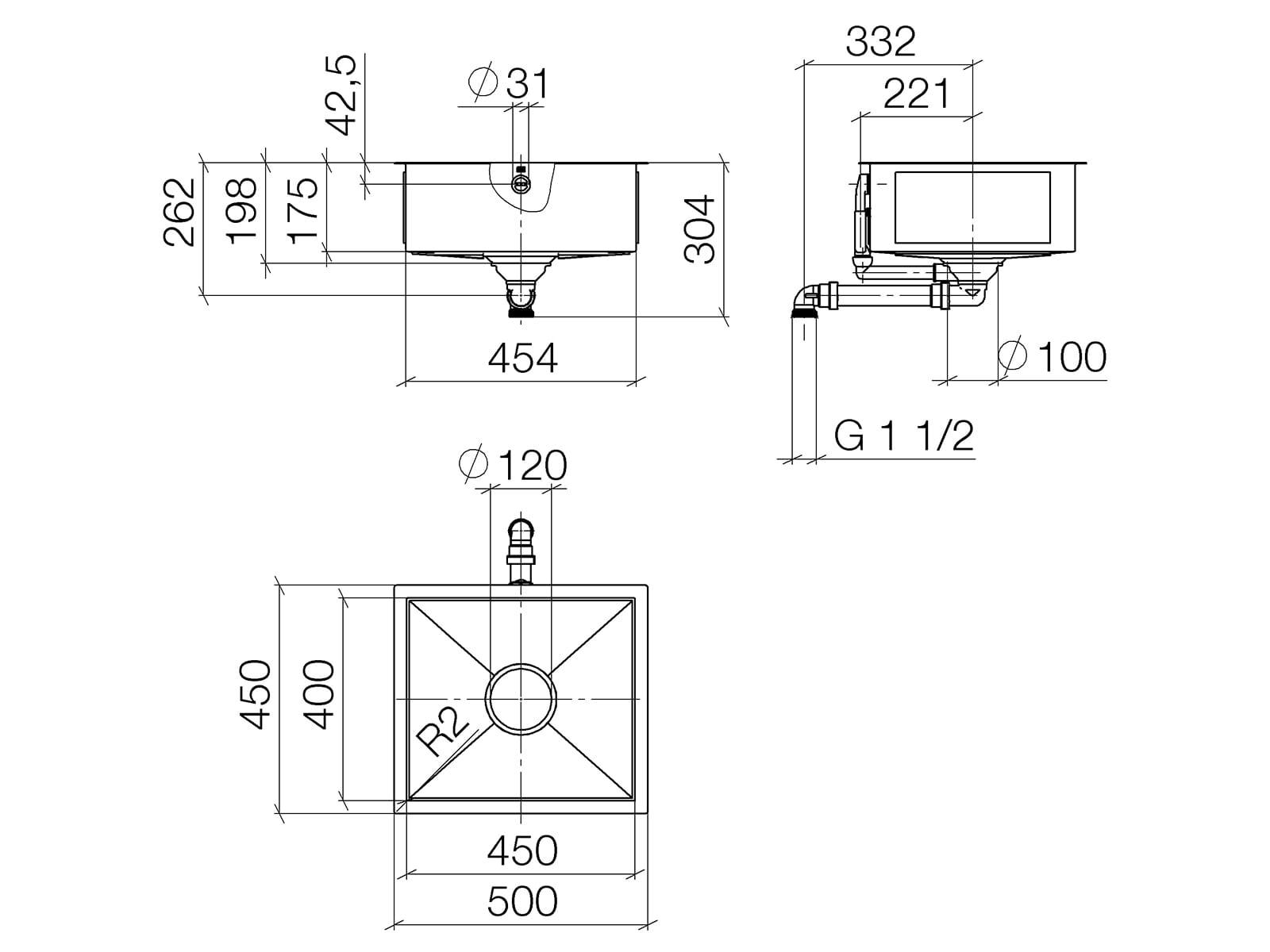 Dornbracht Unterbau-Spüle Glasierter Stahl Schwarz Matt 38450002-71