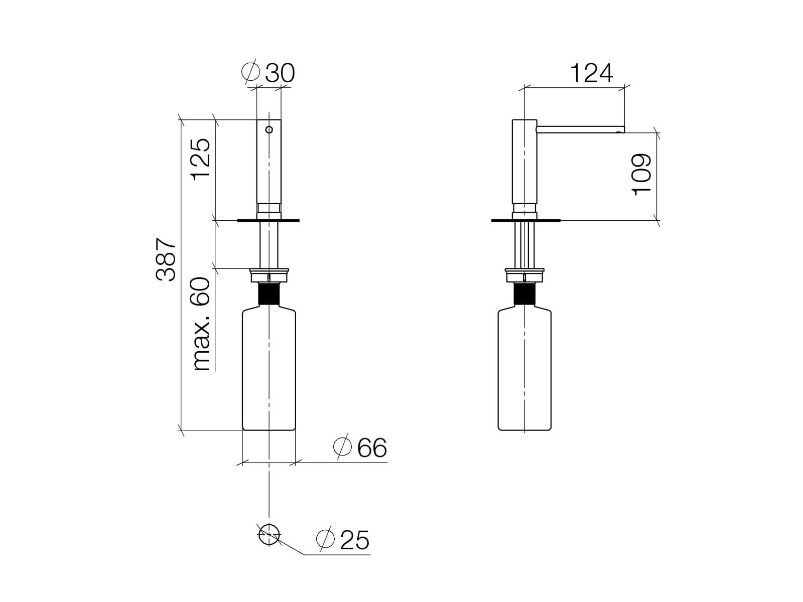 Dornbracht Einbau-Spülmittelspender Platin Matt 82 424 970-06