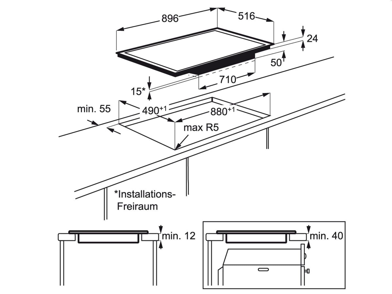 aeg electrolux ehh9552xok induktionskochfeld autark ebay. Black Bedroom Furniture Sets. Home Design Ideas