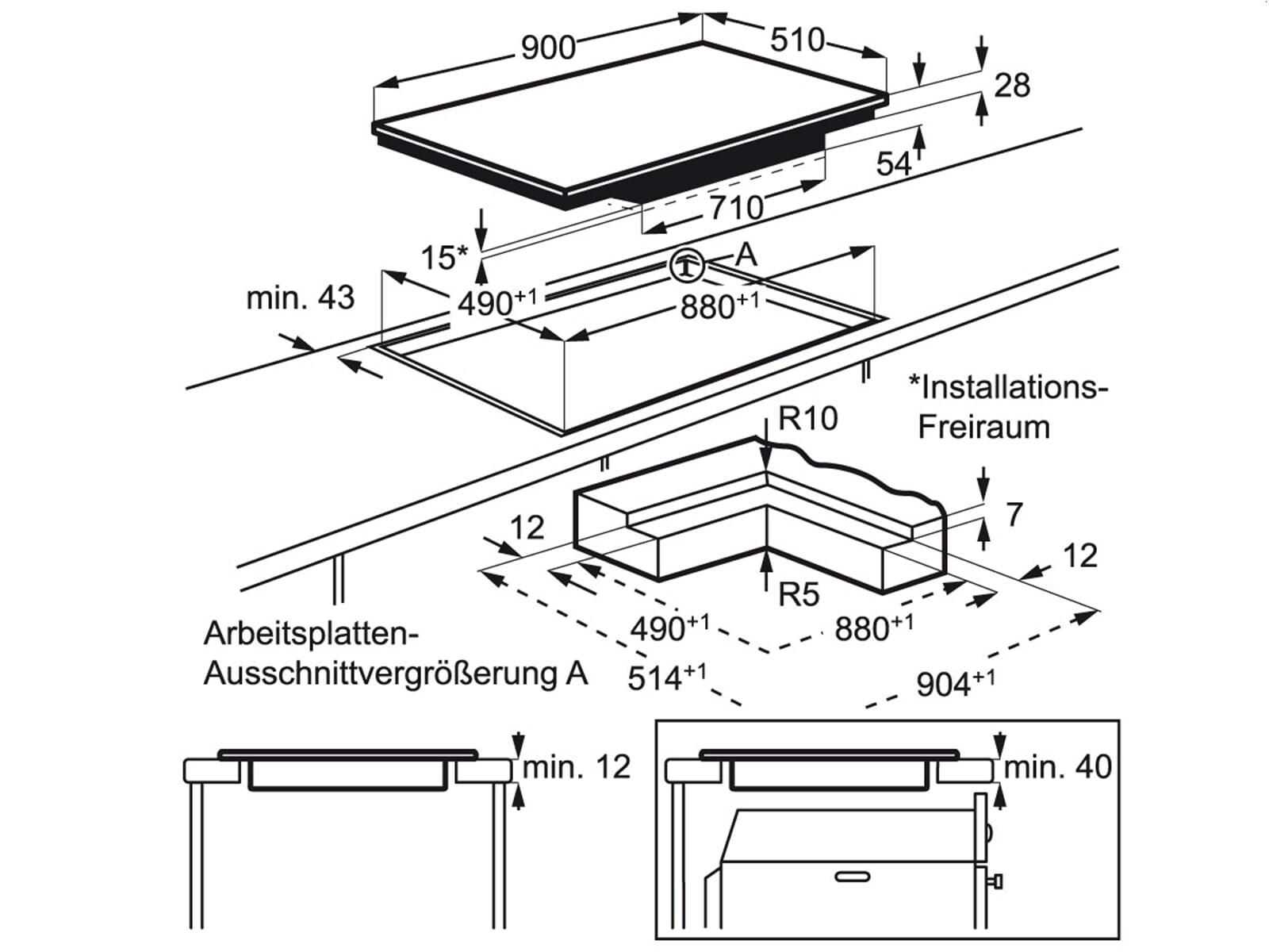 aeg electrolux ehh9967iog induktionskochfeld autark. Black Bedroom Furniture Sets. Home Design Ideas