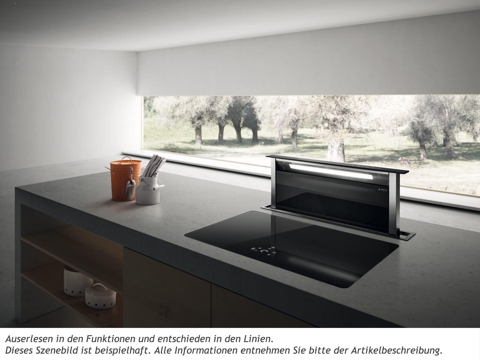 Elica Adagio PRF0099421A Tischhaube Edelstahl Schwarzes Glas