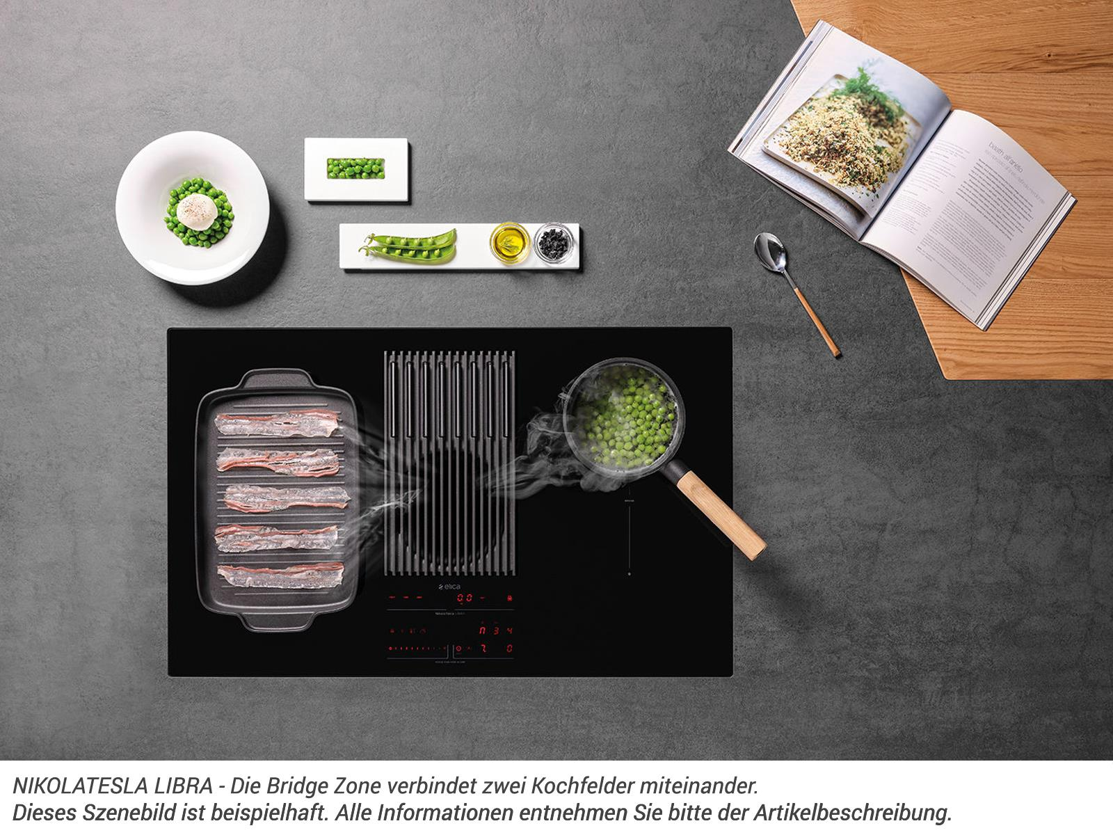 Elica NikolaTesla Libra PRF0147745 Induktionskochfeld-Dunstabzug-Kombination Schwarz mit integrierter Waage