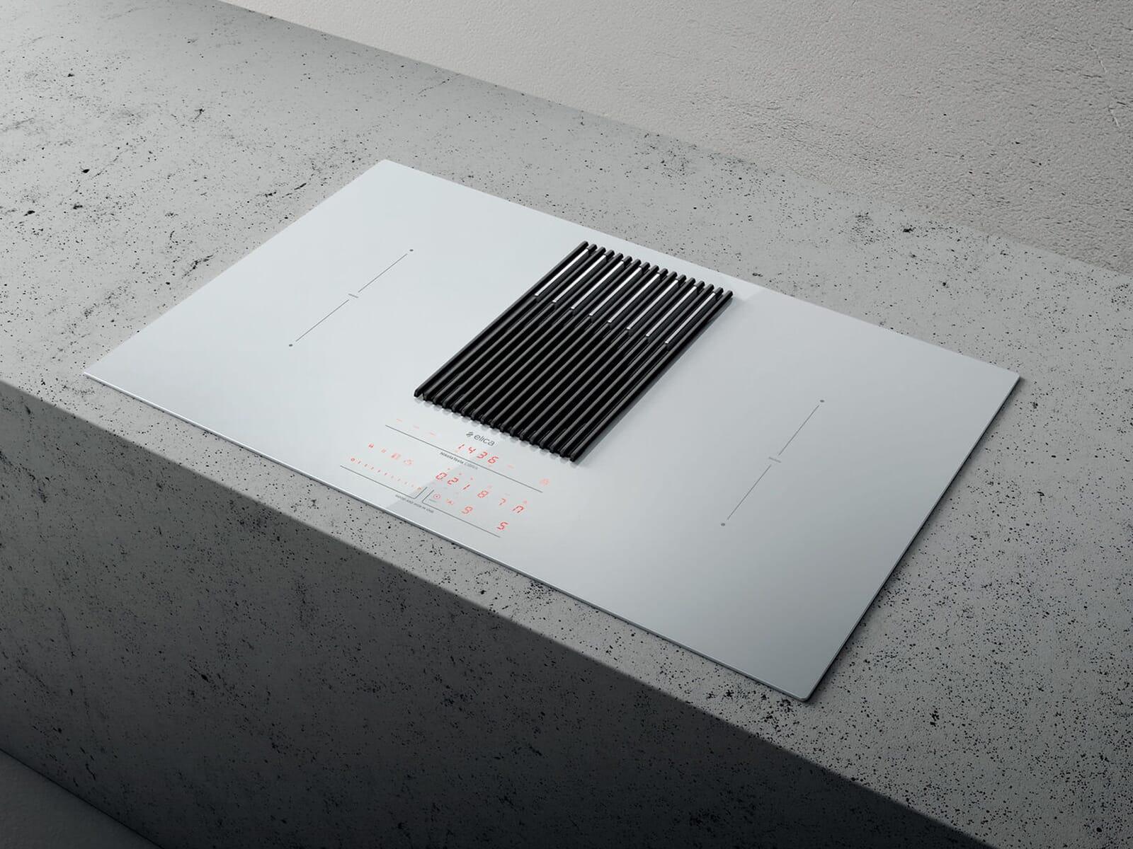 Elica NikolaTesla Libra PRF0147774 Induktionskochfeld-Dunstabzug-Kombination Weiß mit integrierter Waage