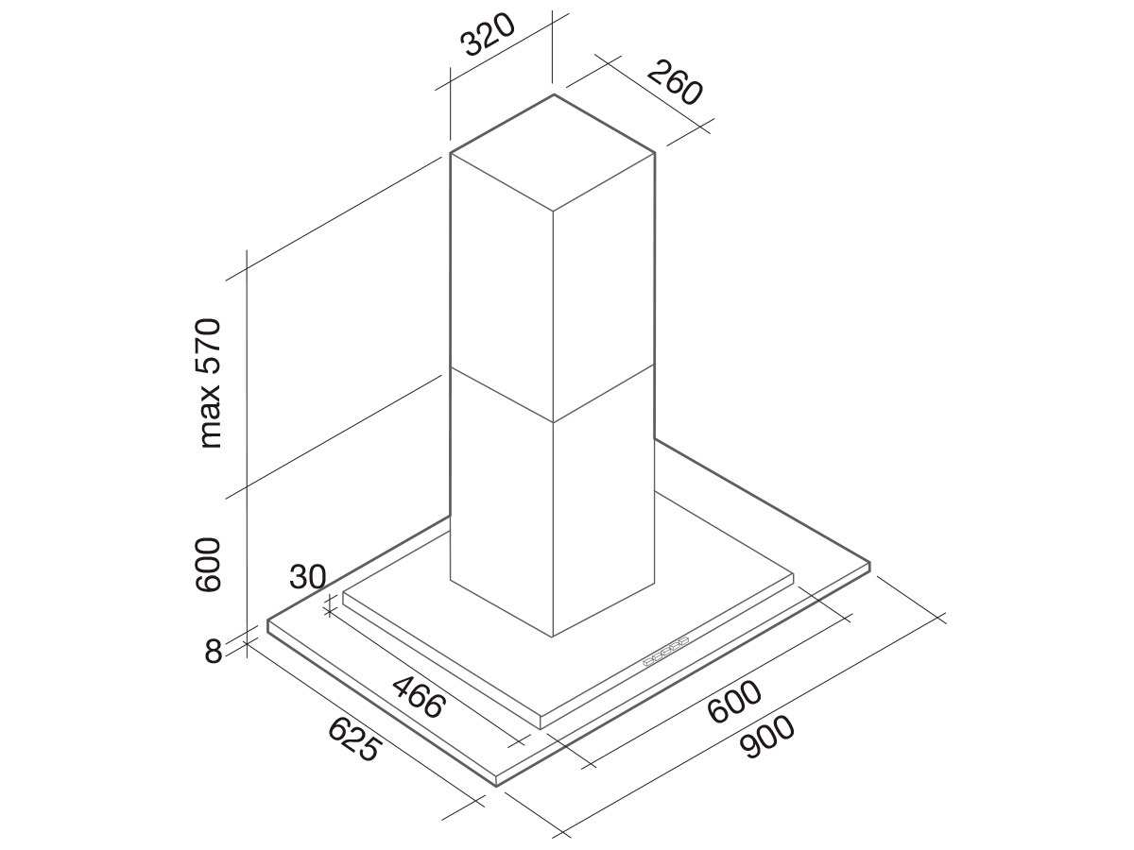 Falmec Kristal Inselhaube 90 cm Edelstahl
