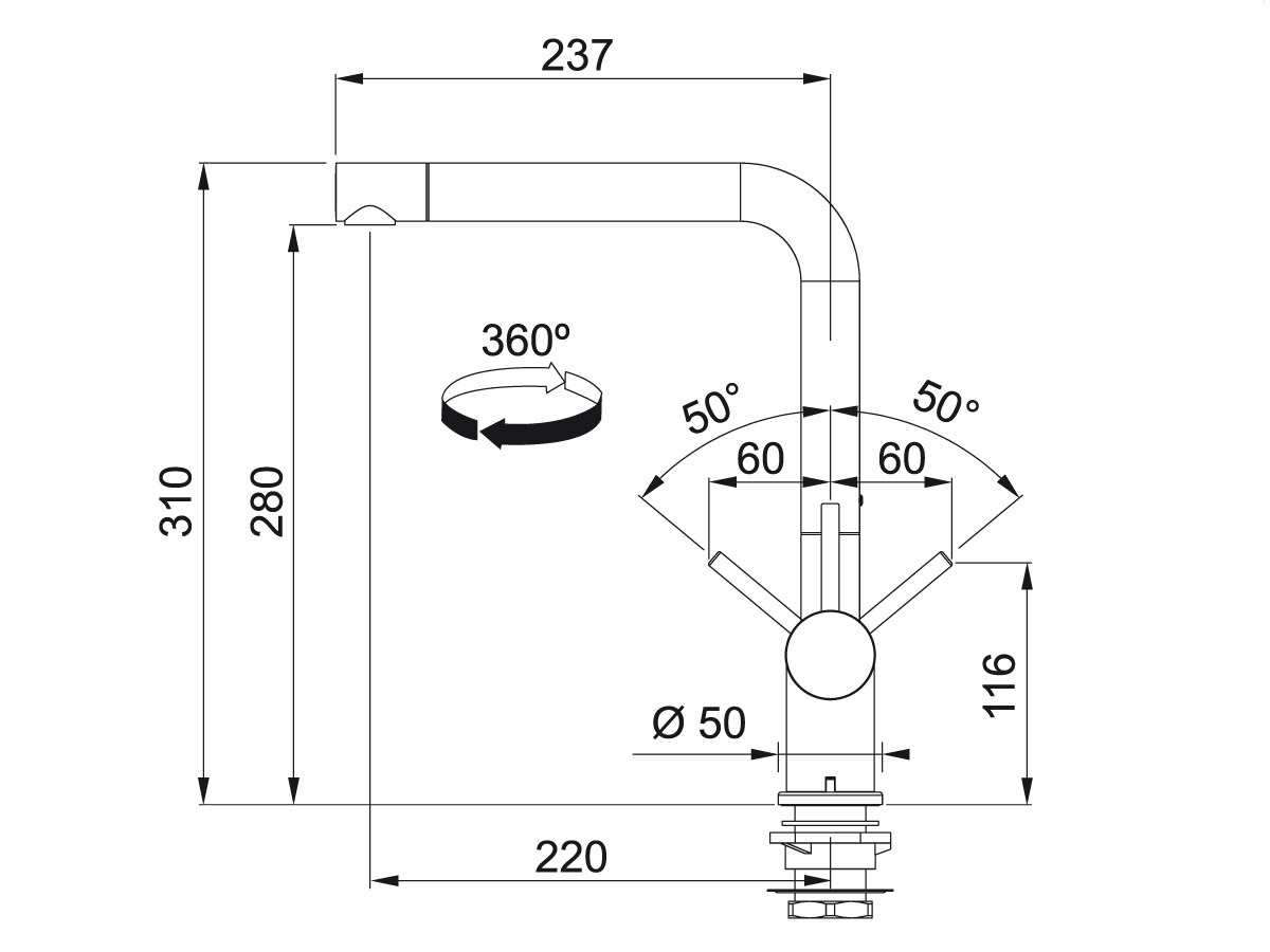 Franke Active-Plus Window Chrom Hochdruckarmatur
