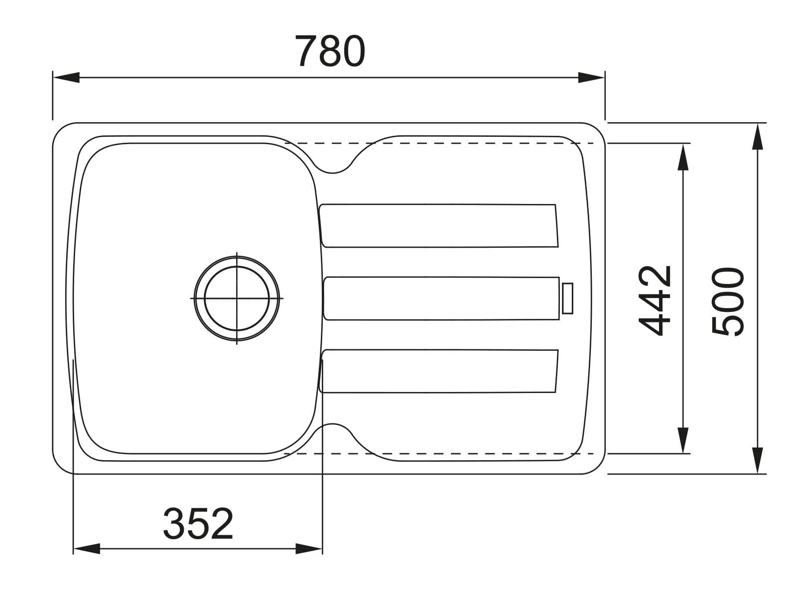 Franke Antea AZG 611-78 Umbra - 114.0512.171 Granitspüle Exzenterbetätigung