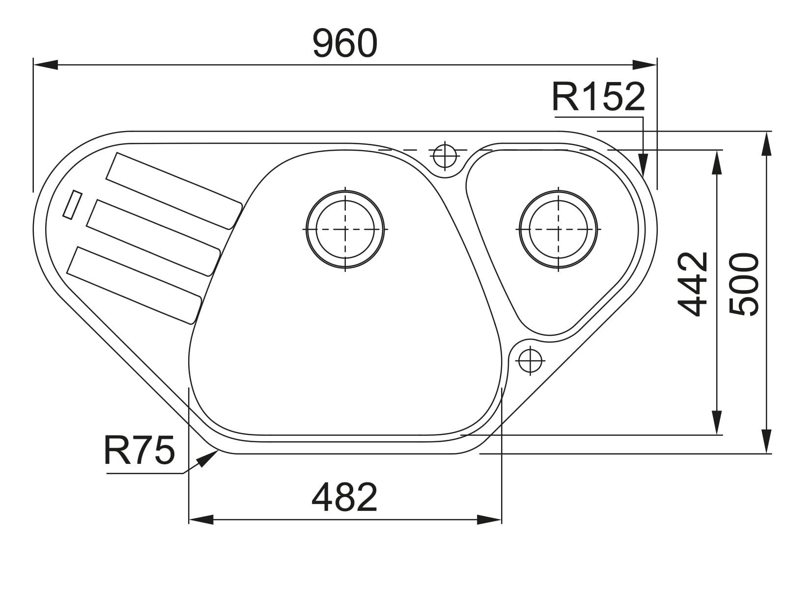 Franke Antea AZG 661-E Graphit - 114.0477.988 Granitspüle Exzenterbetätigung