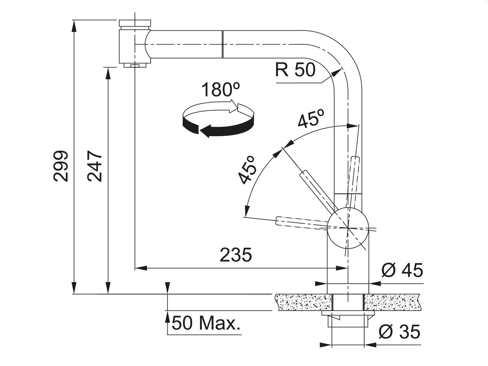 Franke Atlas Neo Edelstahl - 115.0521.441 Hochdruckarmatur
