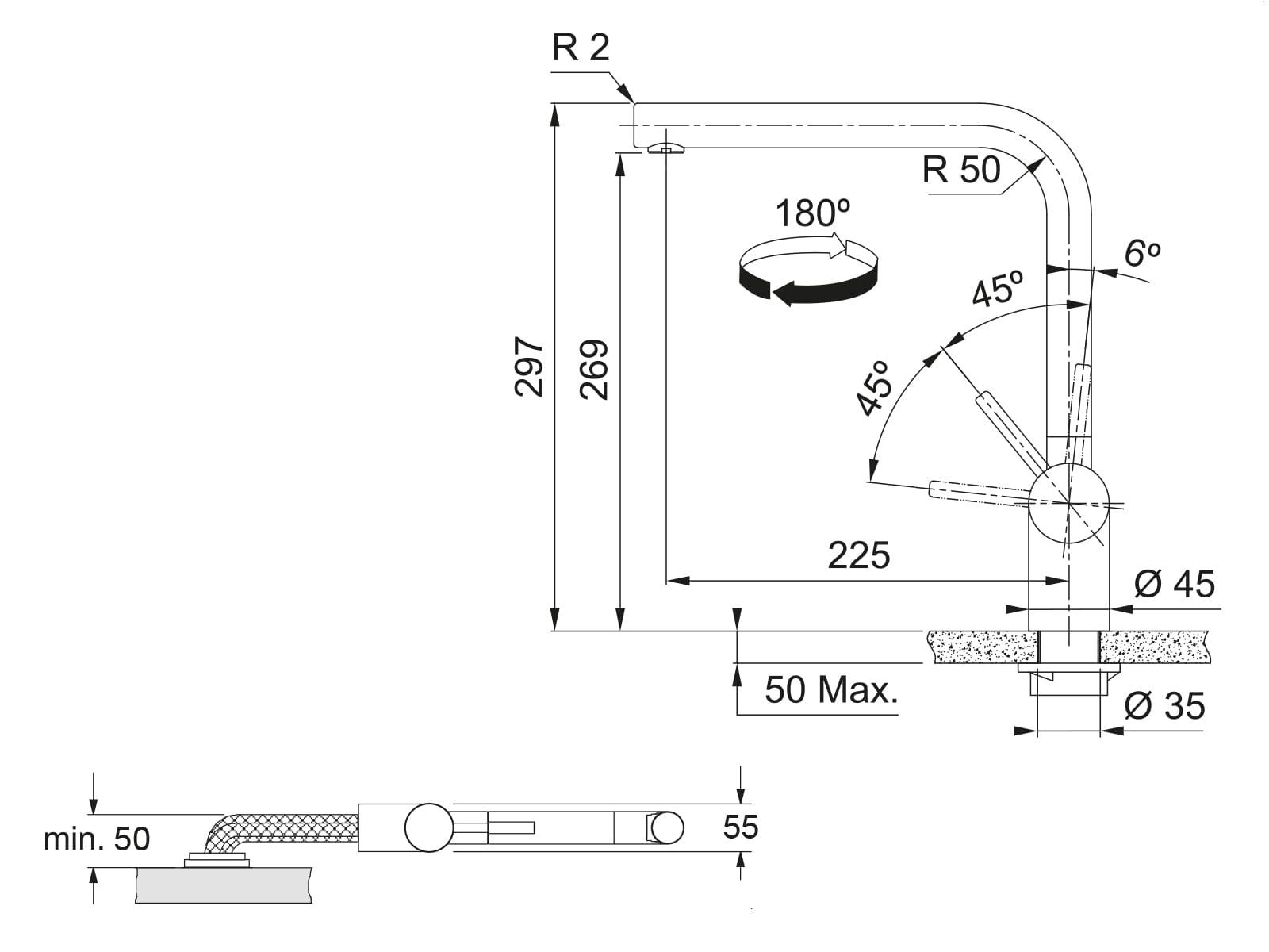Franke Atlas Neo Window Edelstahl - 115.0521.436 Hochdruckarmatur
