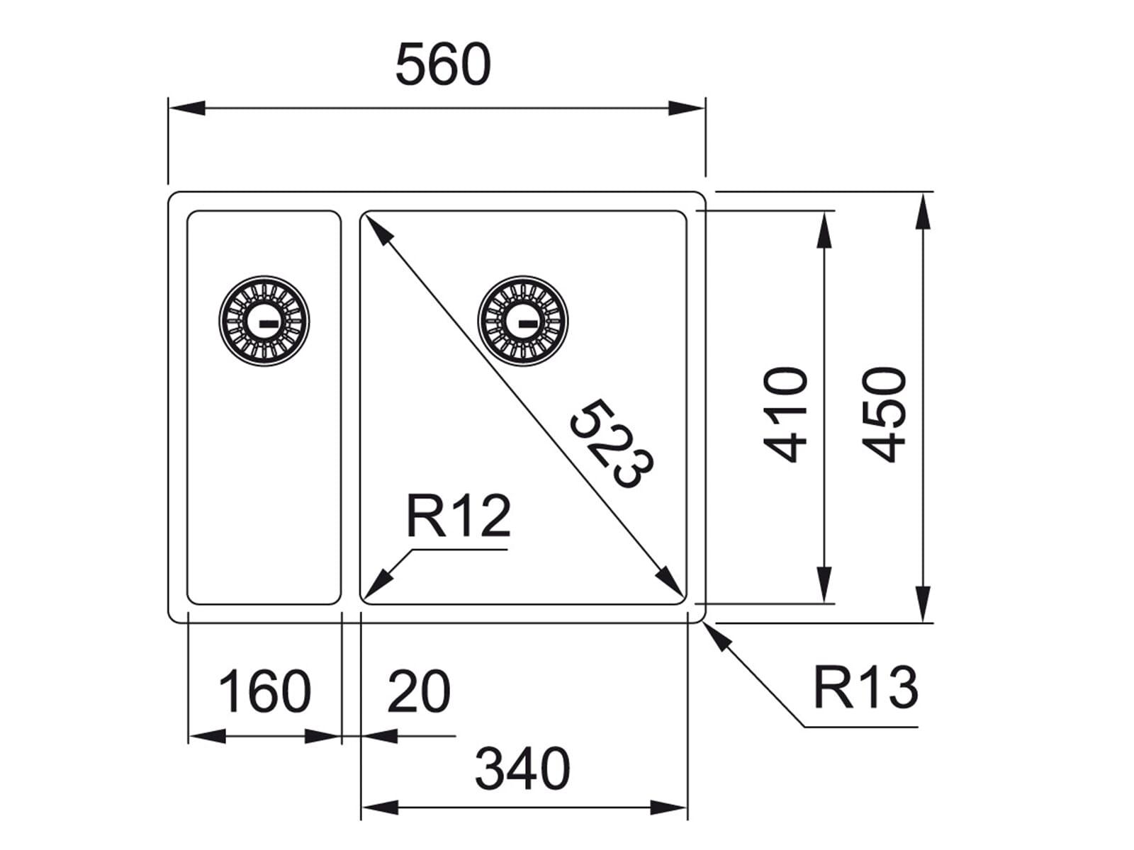 Franke Box BXX 160-34-16 Edelstahlspüle glatt - 122.0375.283 Unterbau