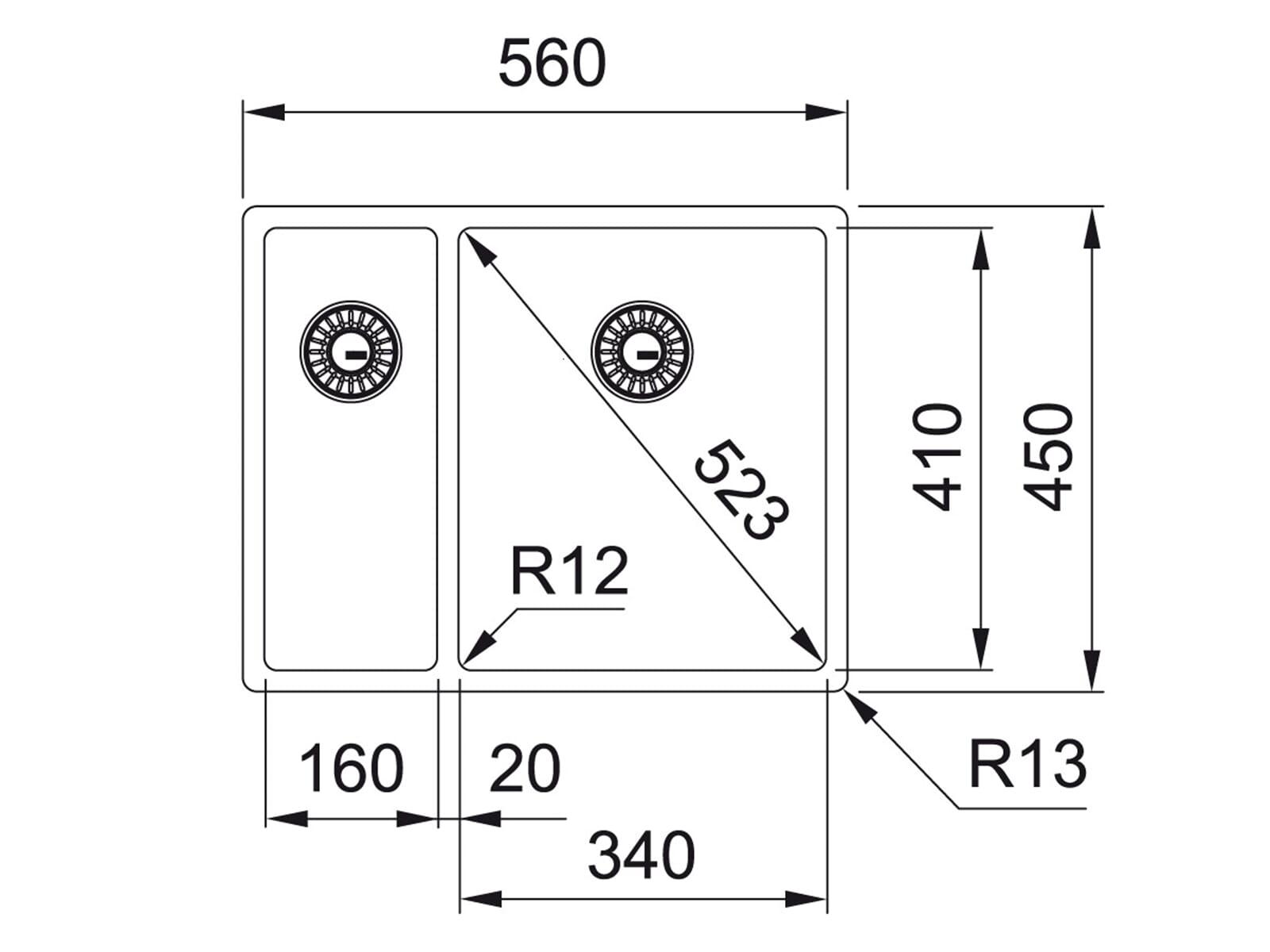 Franke Box BXX 260/160-34-16 Edelstahlspüle glatt - 127.0361.231 Auflage/ Flächenbündig/ Unterbau