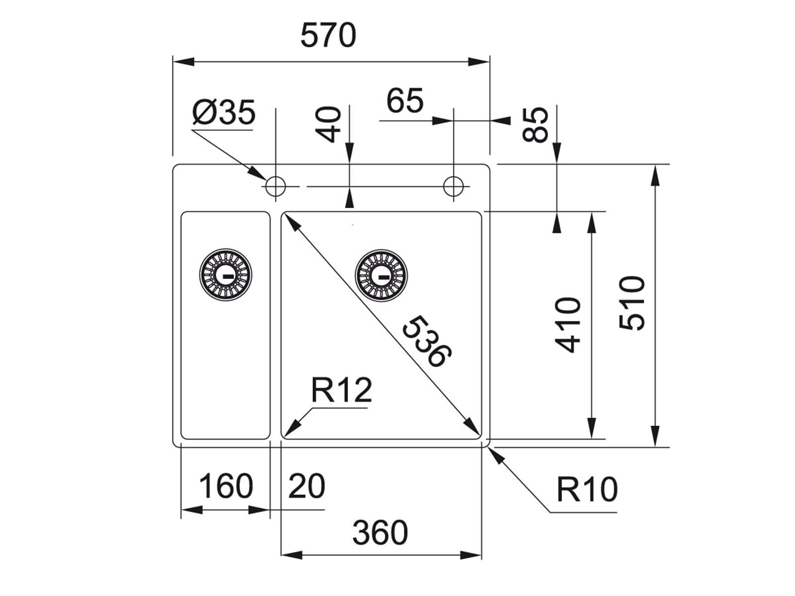 Franke Box BXX 260-36-16 A Edelstahlspüle glatt - 127.0361.234 Auflage/ Flächenbündig
