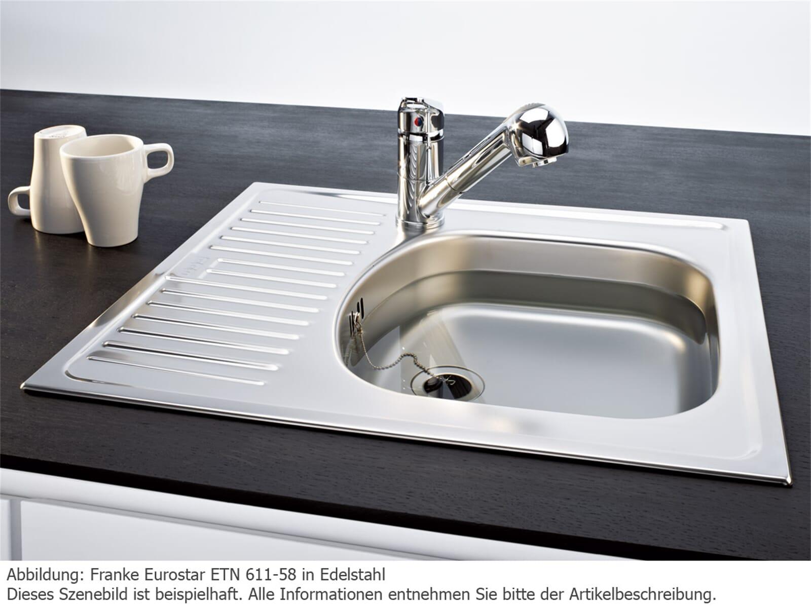 Franke Eurostar ETN 611-58 Edelstahlspüle seidenmatt (ohne Ablaufgarnitur) - 101.0009.358