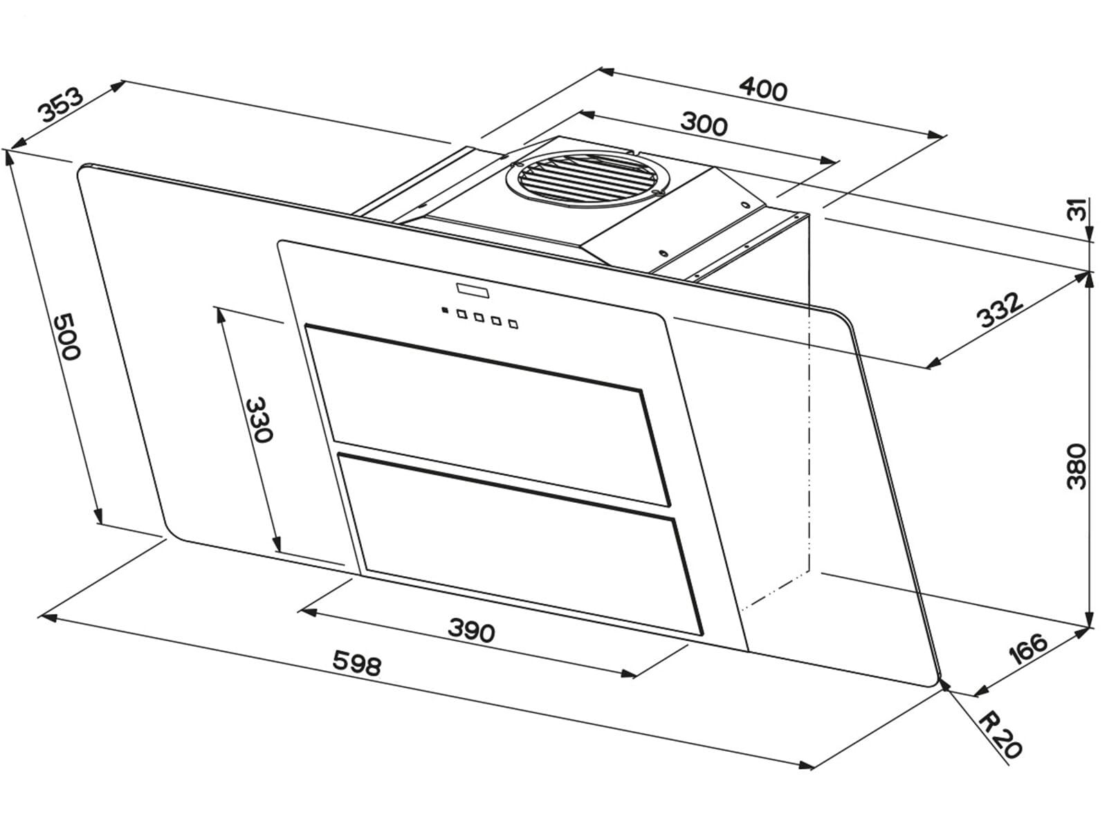 franke fusion ffu 605 bk xs kopffreihaube schwarz edelstahlpaneele ebay. Black Bedroom Furniture Sets. Home Design Ideas