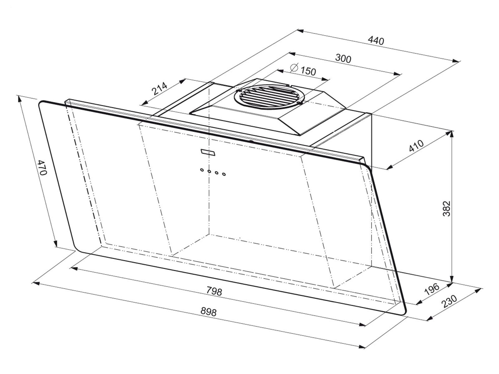 franke smart fsma 905 bk kopffreihaube schwarz. Black Bedroom Furniture Sets. Home Design Ideas