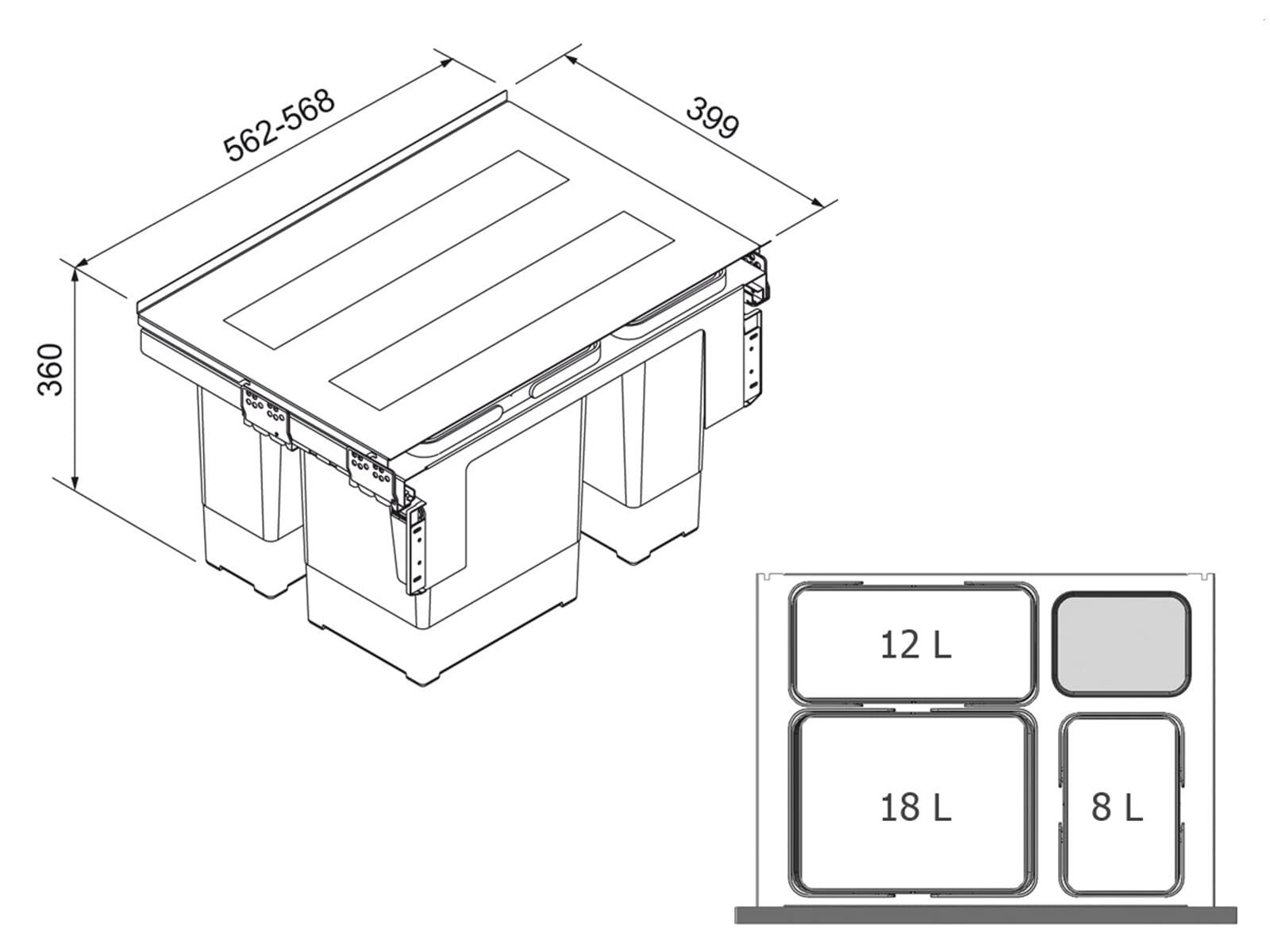 Franke Sorter Garbo 60-3 - 121.0200.680 Einbau Abfallsammler