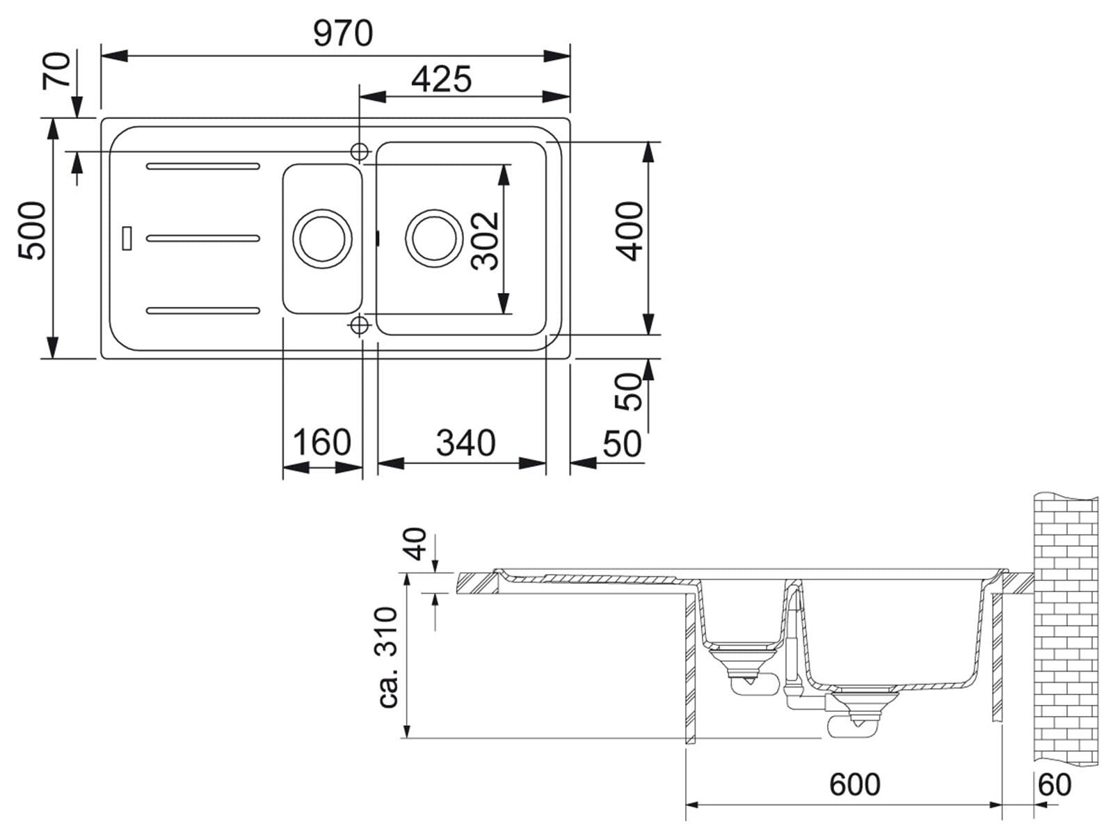 Franke Impact G IMG 651 G Graphit Granitspüle