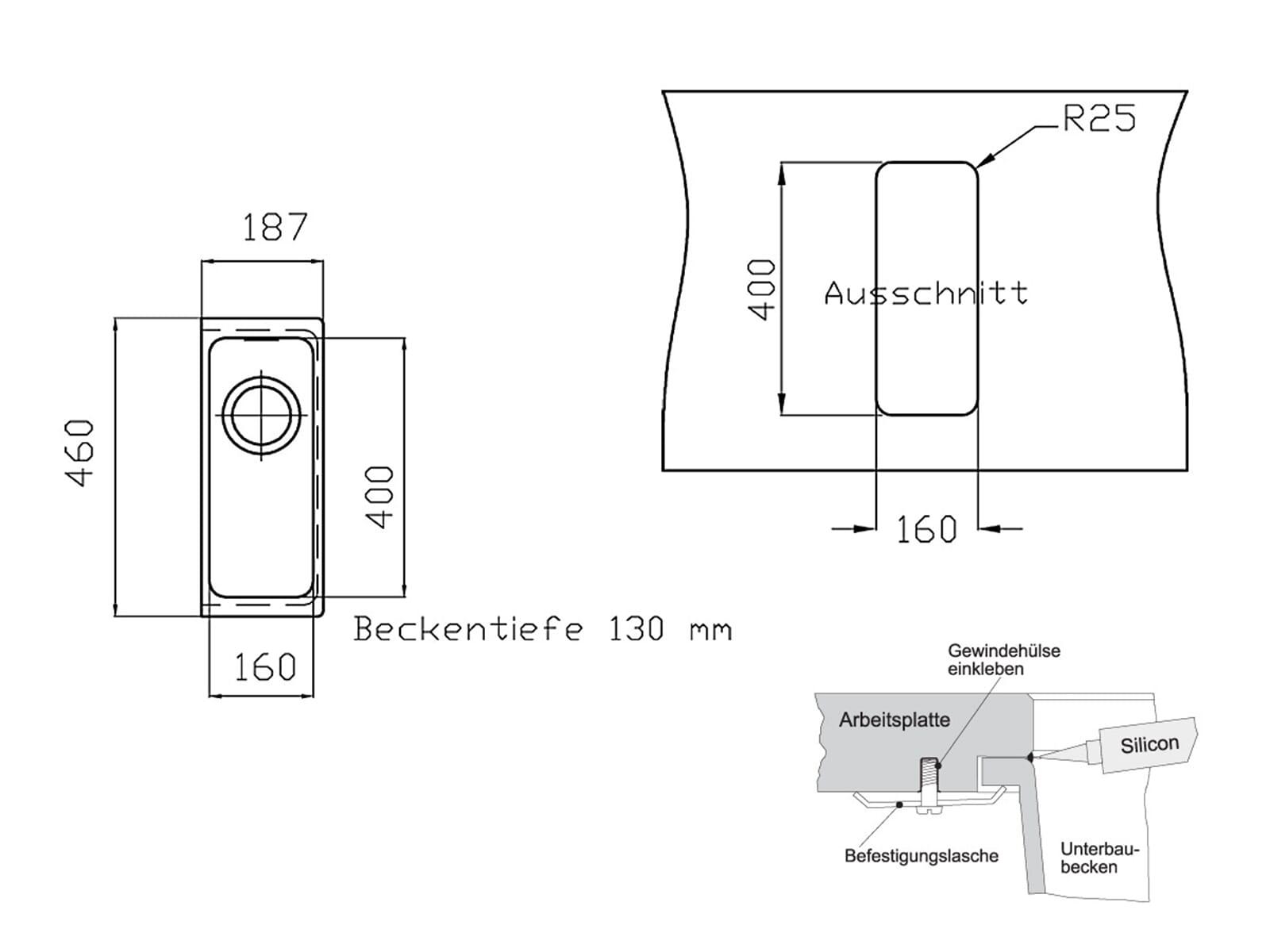 Franke Kubus KBG 110-16 Steingrau Granitspüle