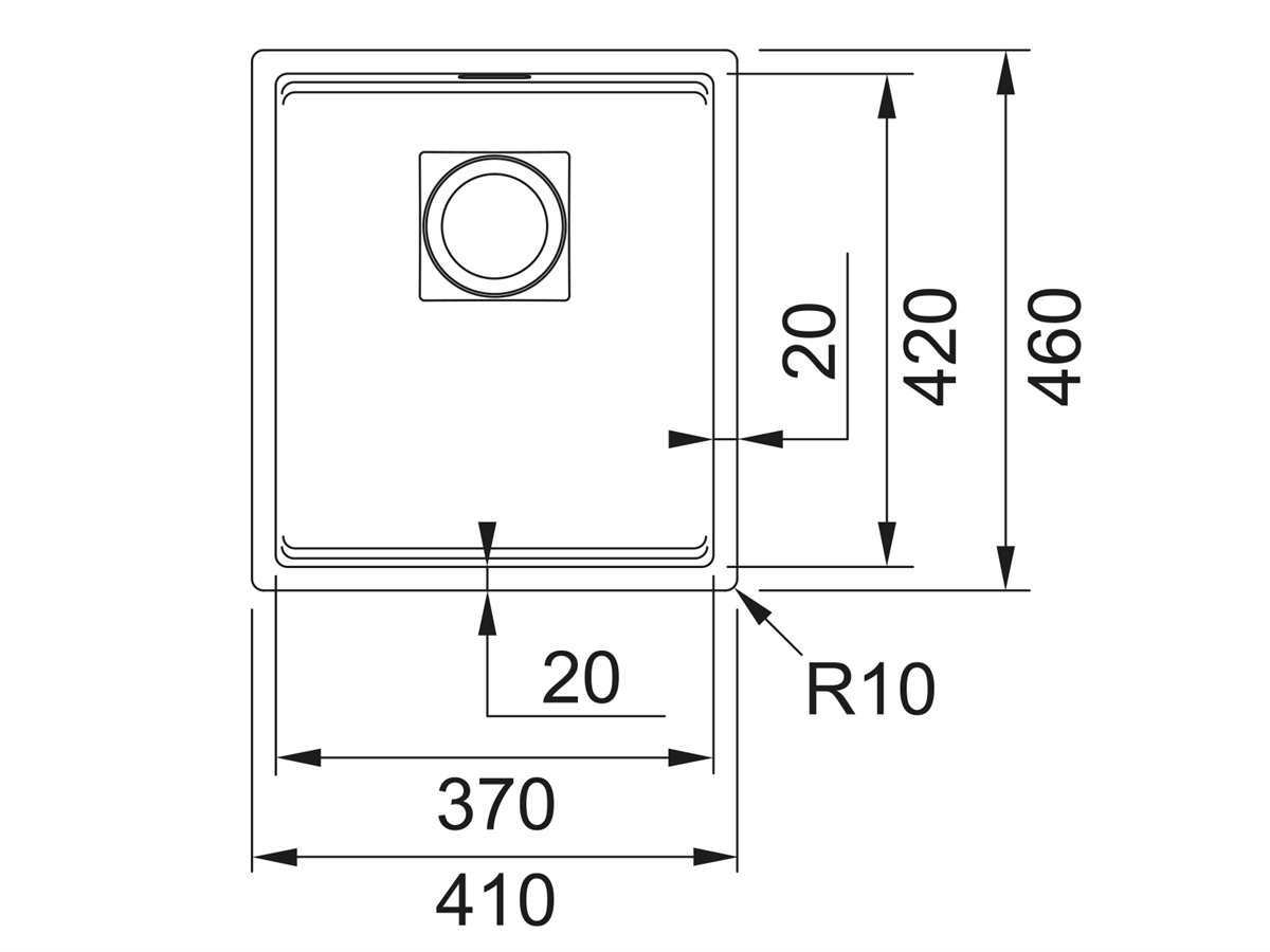 Franke Kubus 2 KNG 110-37 Onyx - 11639 Granitspüle Exzenterbetätigung
