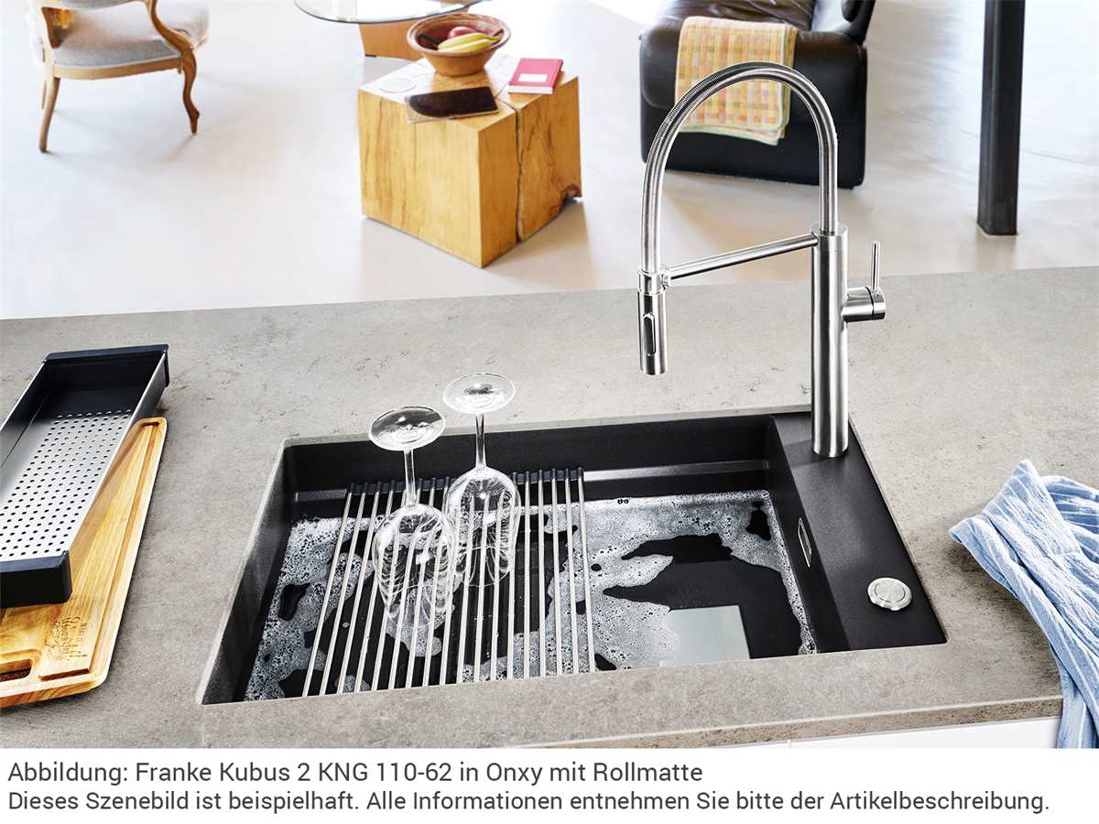 Franke Kubus 2 KNG 110-62 Onyx - 11644 Granitspüle Exzenterbetätigung