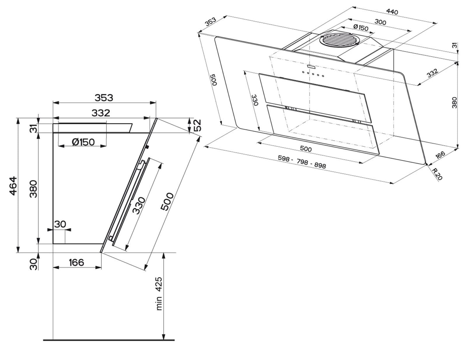 franke maris fma 805 wh xs kopffreihaube wei edelstahlpaneele. Black Bedroom Furniture Sets. Home Design Ideas