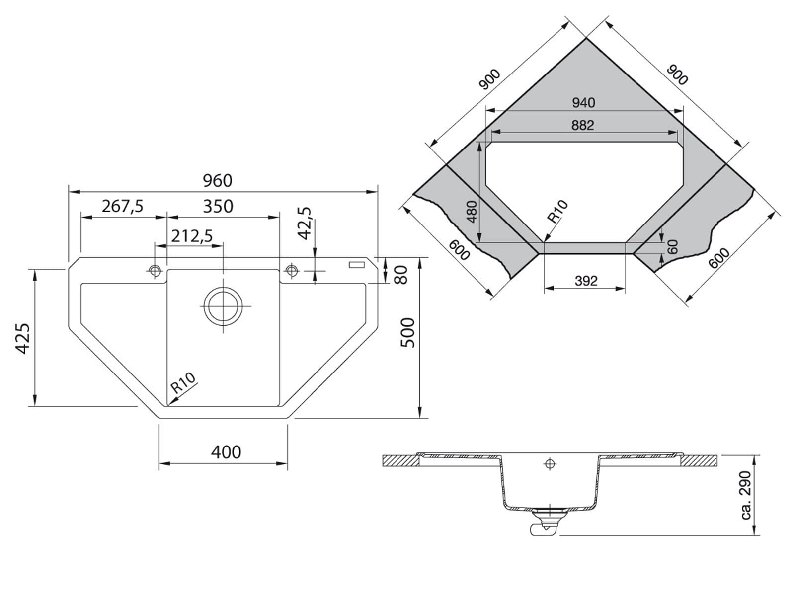 Franke Maris MRG 612-E Magnolia - 114.0477.554 Granitspüle Exzenterbetätigung