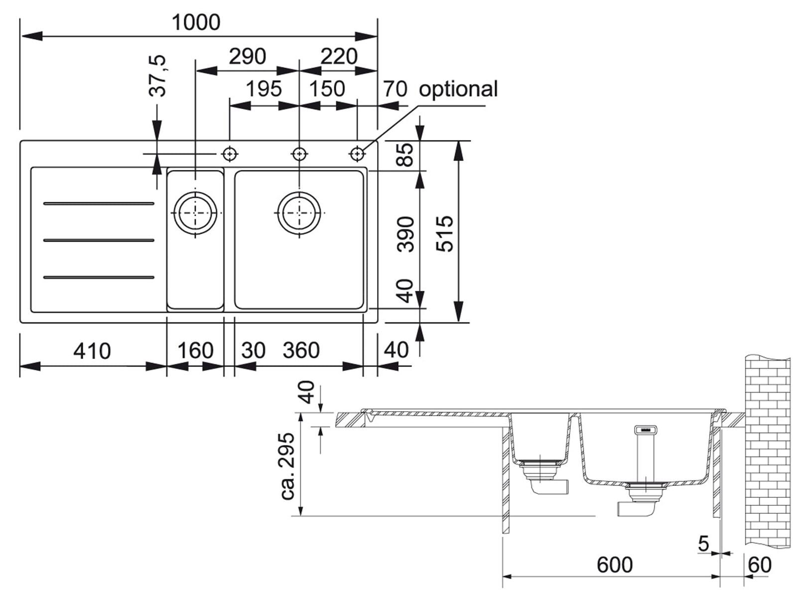 Franke Mythos Fusion MTF 651-100 Onyx Granitspüle