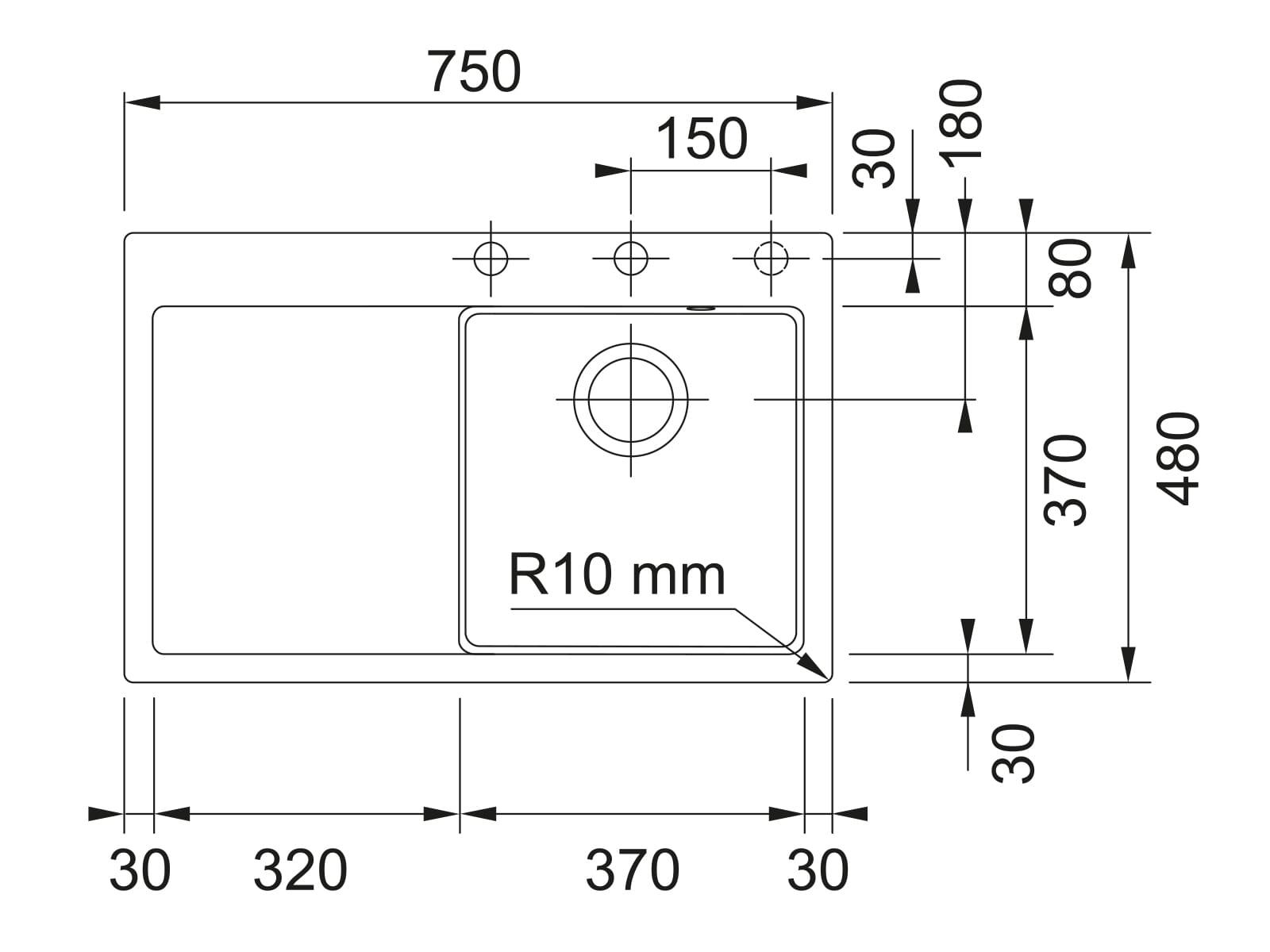 Franke Mythos MTK 211-78 Graphit - 10721 Keramikspüle Exzenterbetätigung