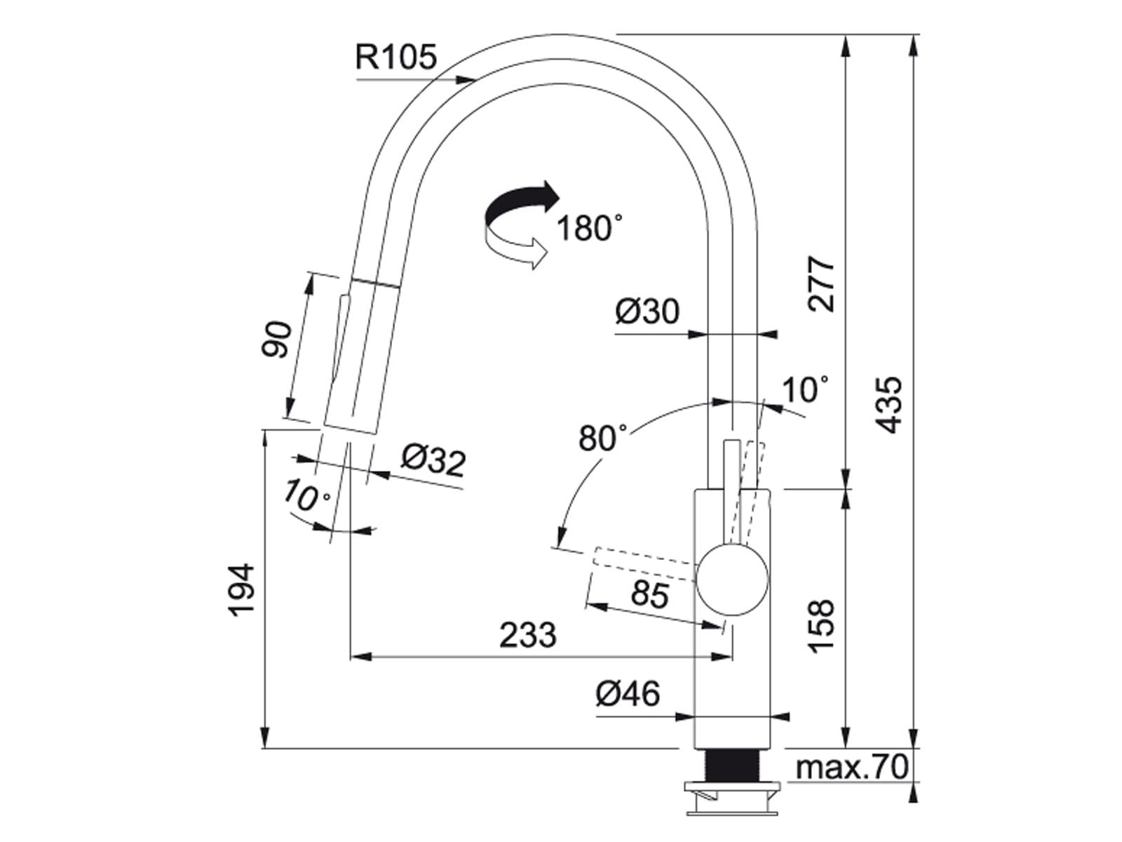 Franke Pescara Slide in Chrom - 11988 Hochdruckarmatur