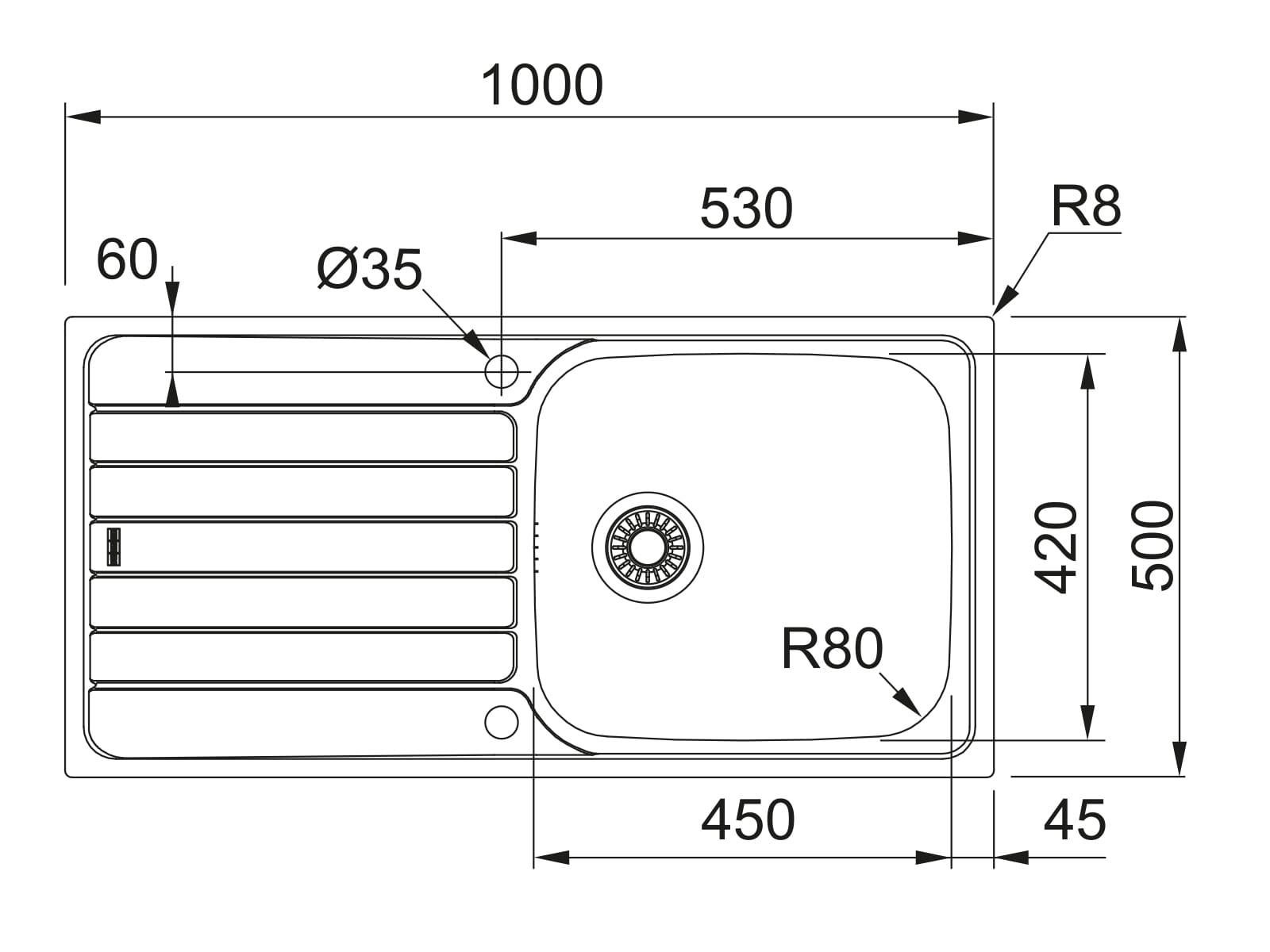 Franke Spark SKX 611-100 - 10370 Edelstahlspüle glatt Excenterbetätigung