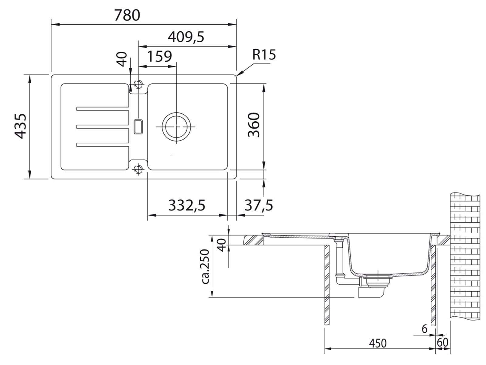 Franke Strata STG 614-78 Graphit Granitspüle Exzenterventil