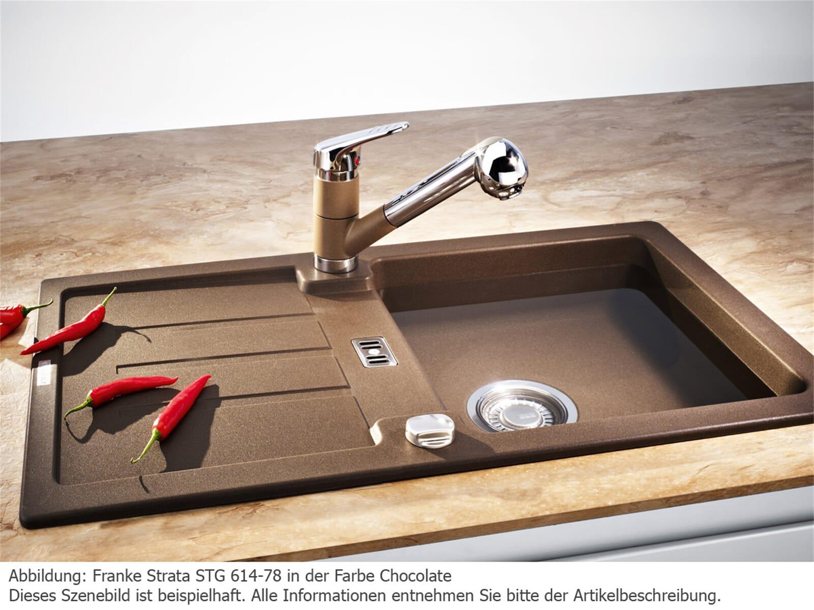 Franke Strata STG 614-78 Cashmere Granitspüle Exzenterventil