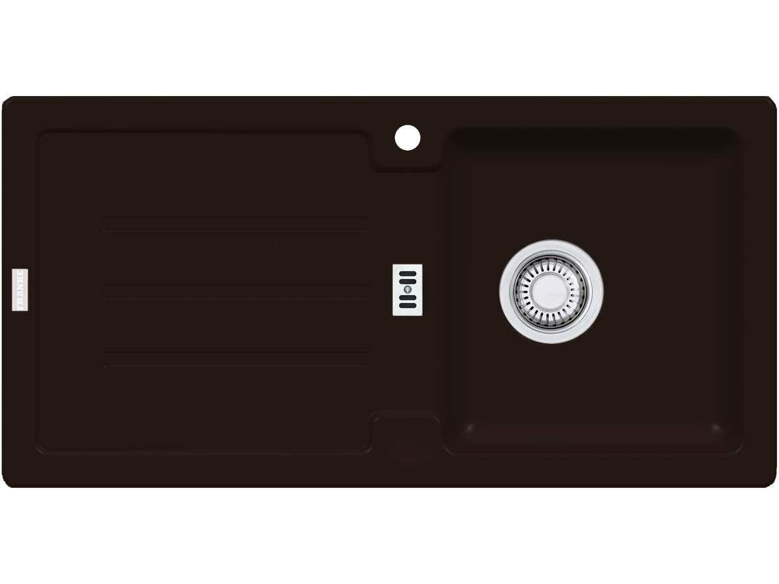Franke Strata STG 614 Chocolate Granitspüle Stopfenventil