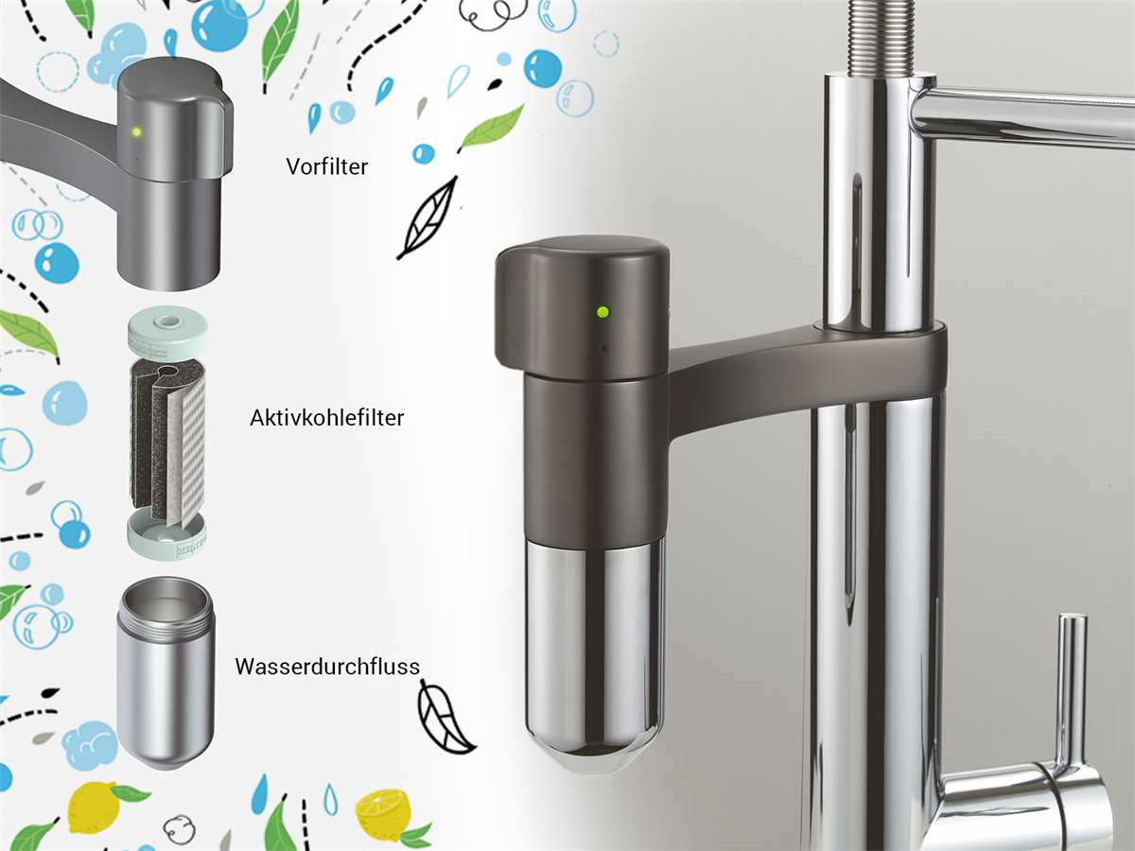 Franke Vital Semi Pro Black Matt / Edelstahl-Optik - 11430 Hochdruckarmatur