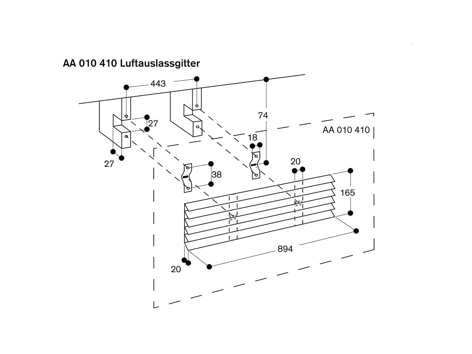Gaggenau AA010410 Luftauslassgitter Umluft