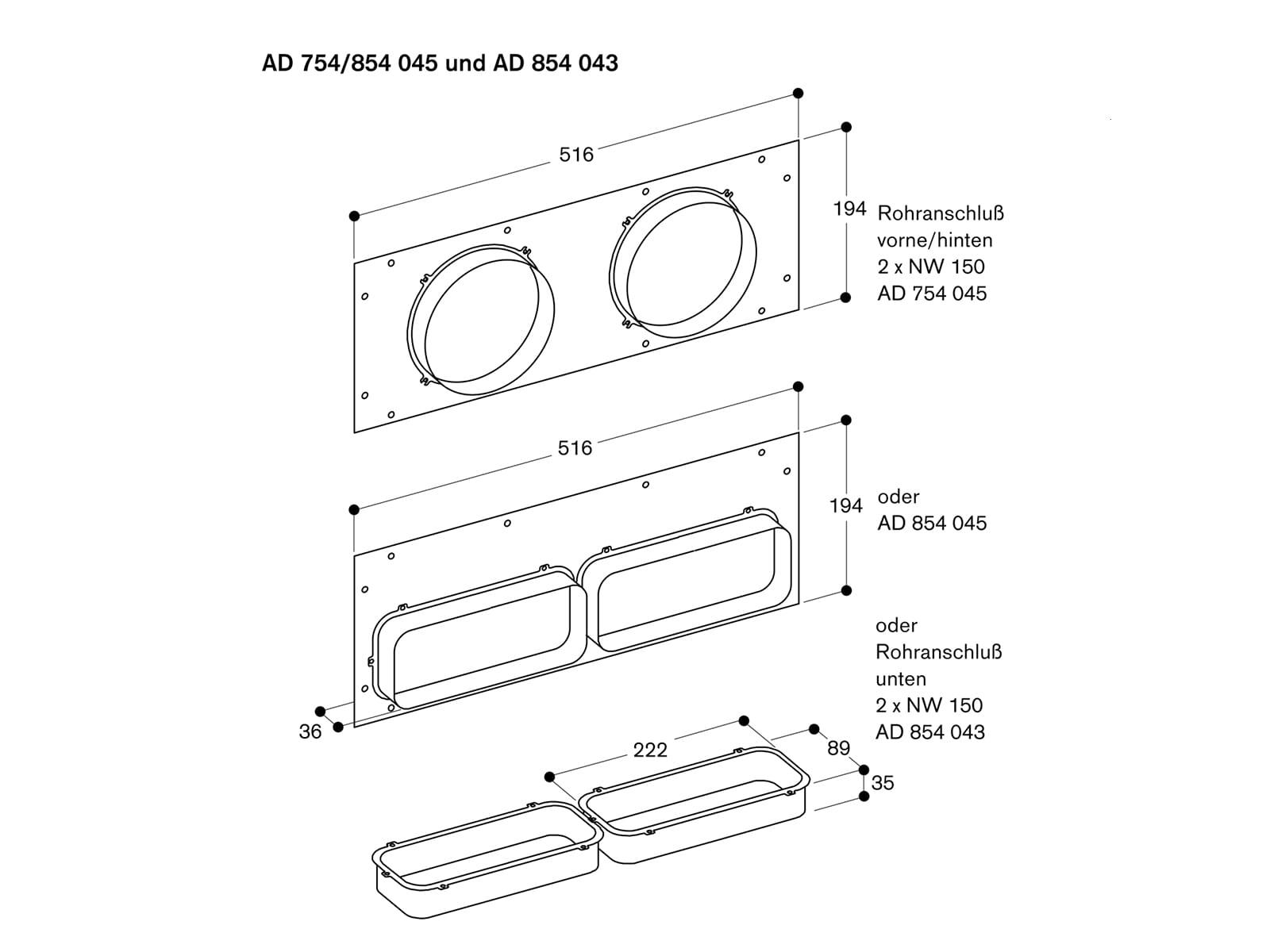 Gaggenau AD754045 Anschlussstutzen für Aluflexrohr