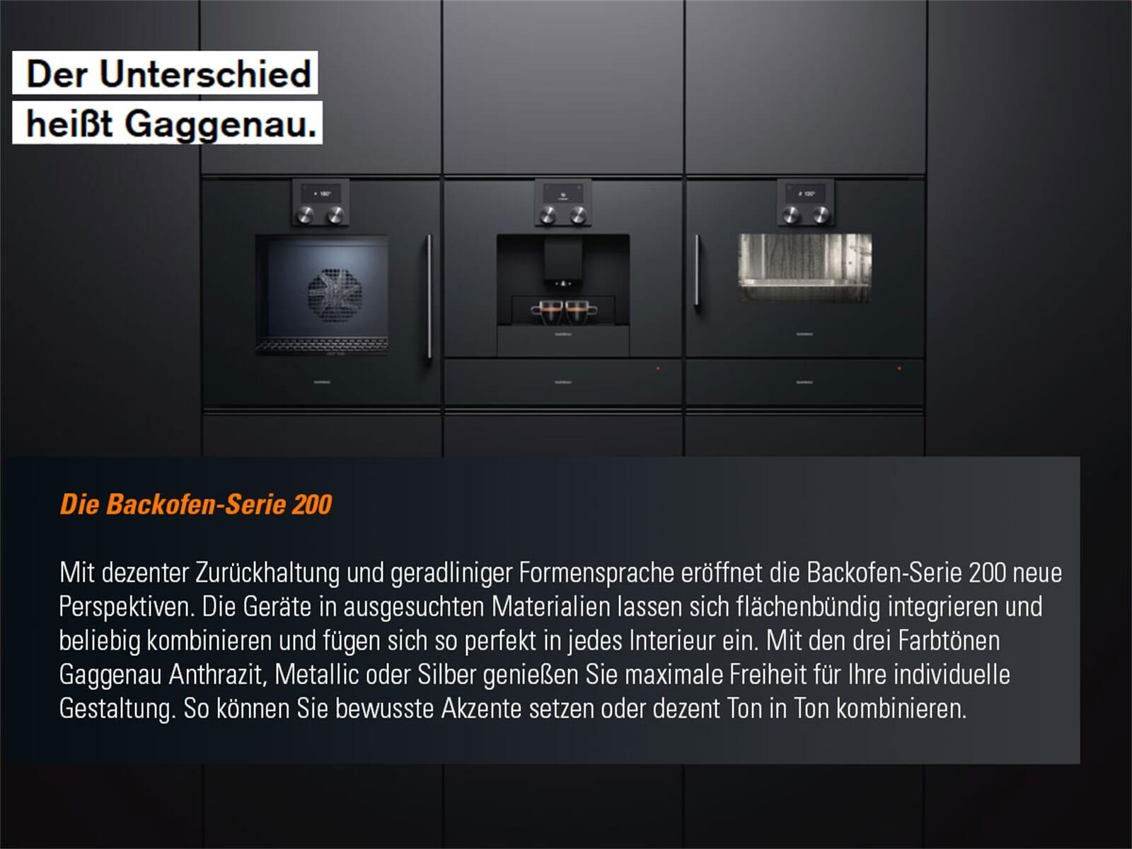Gaggenau BOP 251 131 Backofen Serie 200 Silber