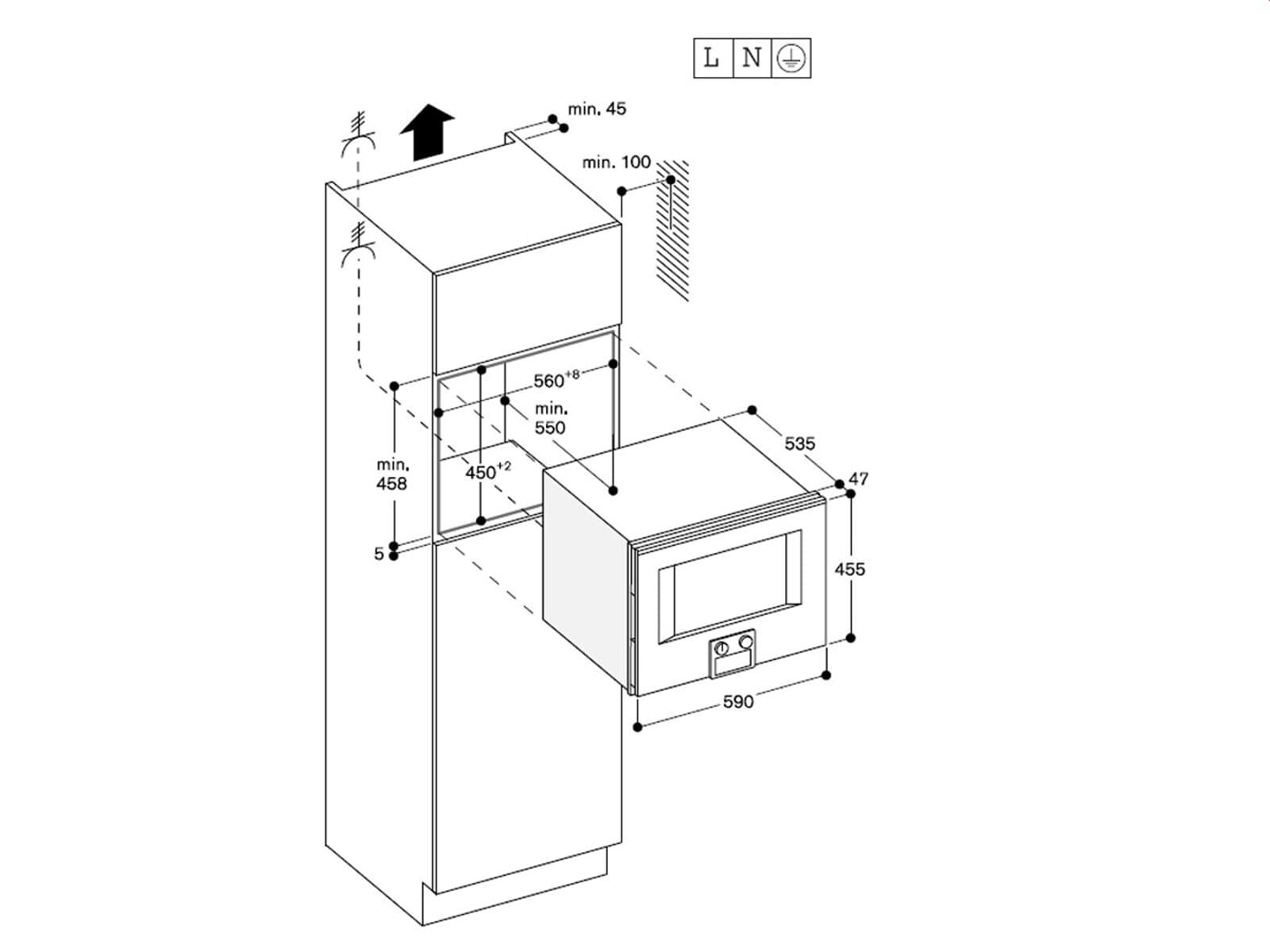 Gaggenau BM 450 110 Mikrowellen-Backofen Serie 400 Edelstahl/Glas