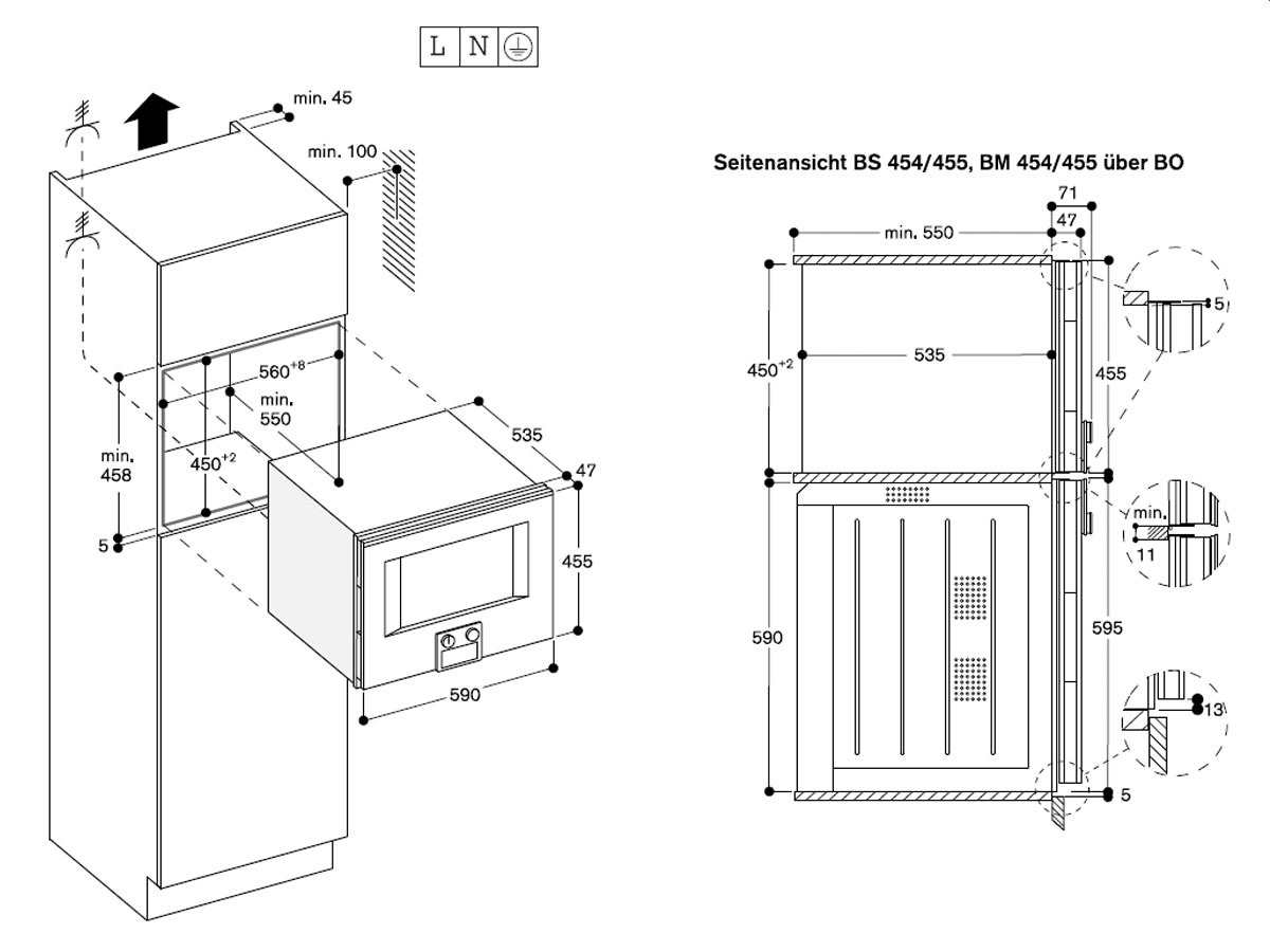 Gaggenau BM 454 100 Mikrowellen-Backofen Serie 400 Anthrazit