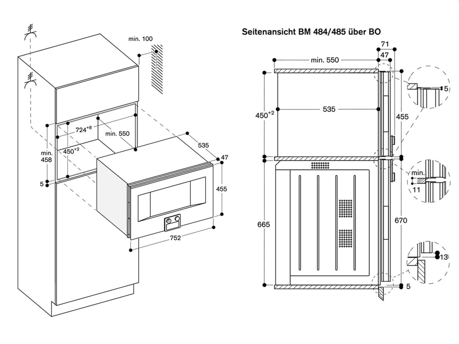 Gaggenau BM 485 110 Mikrowellen-Backofen Serie 400 Edelstahl/Glas